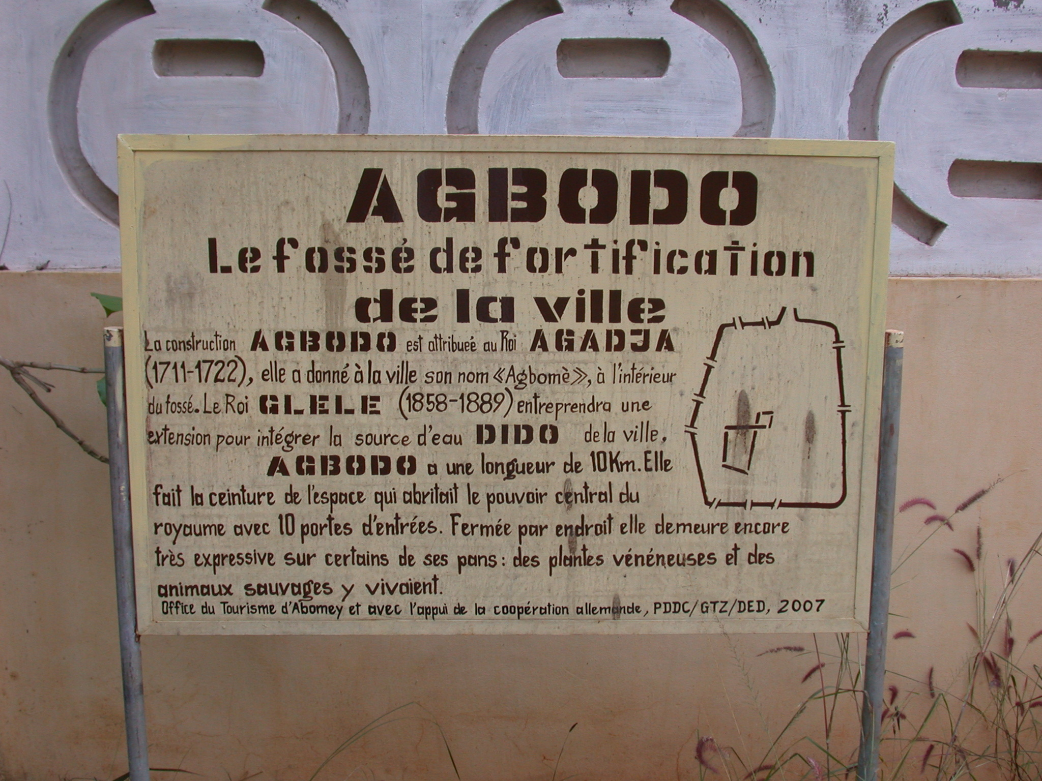 Sign Describing Agbodo Moat Around Abomey, Benin