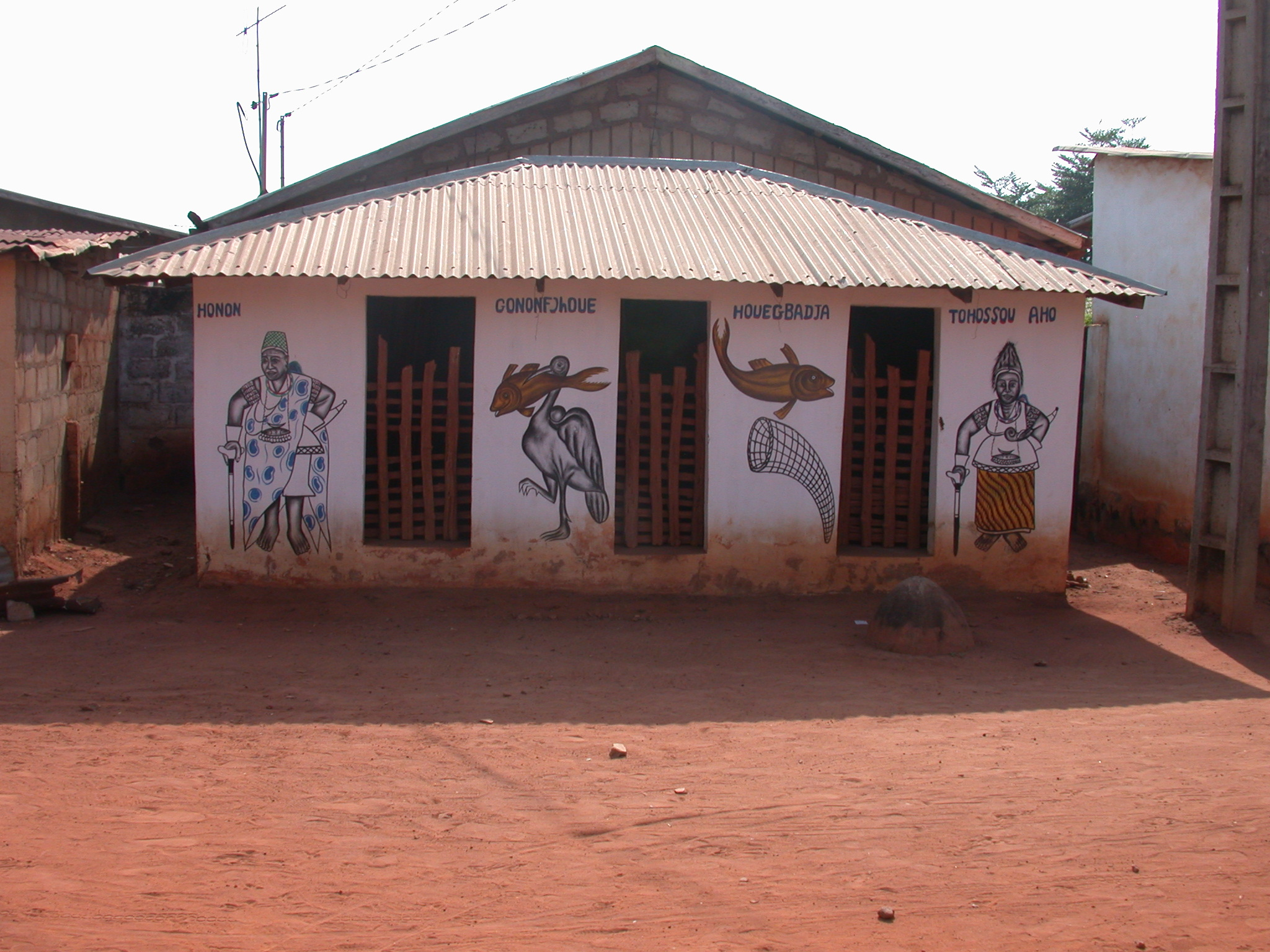 House Mentioning Third Dahomey King Houegbadja and Honon, Cononfjhoue,  and Tohossou Aho, Abomey, Benin