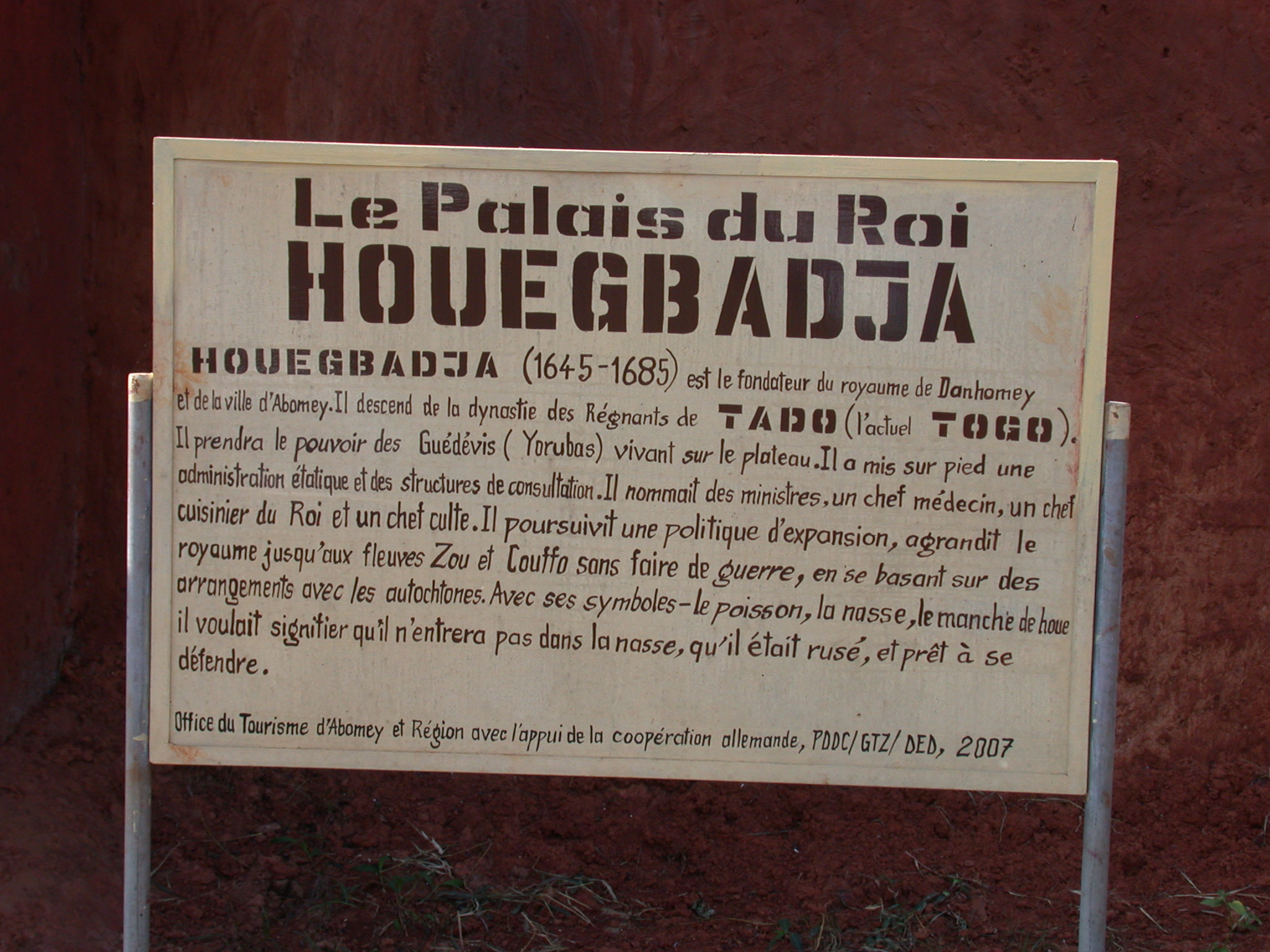 Sign for Palace of King Houegbadja, Abomey, Benin