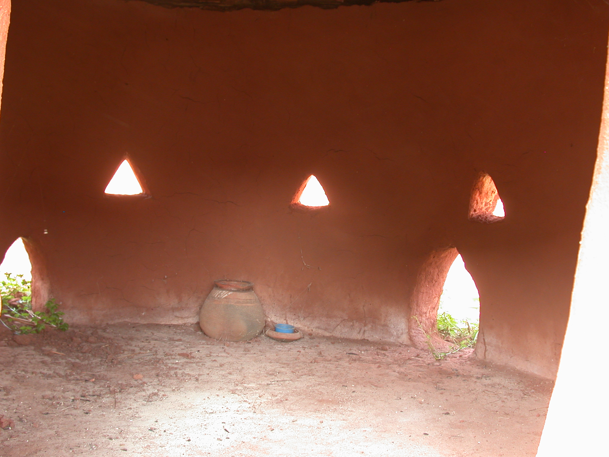 Interior of Reconstructed Hut With Triangular Windows and Clay Pot, Palace of King Houegbadja, Abomey, Benin