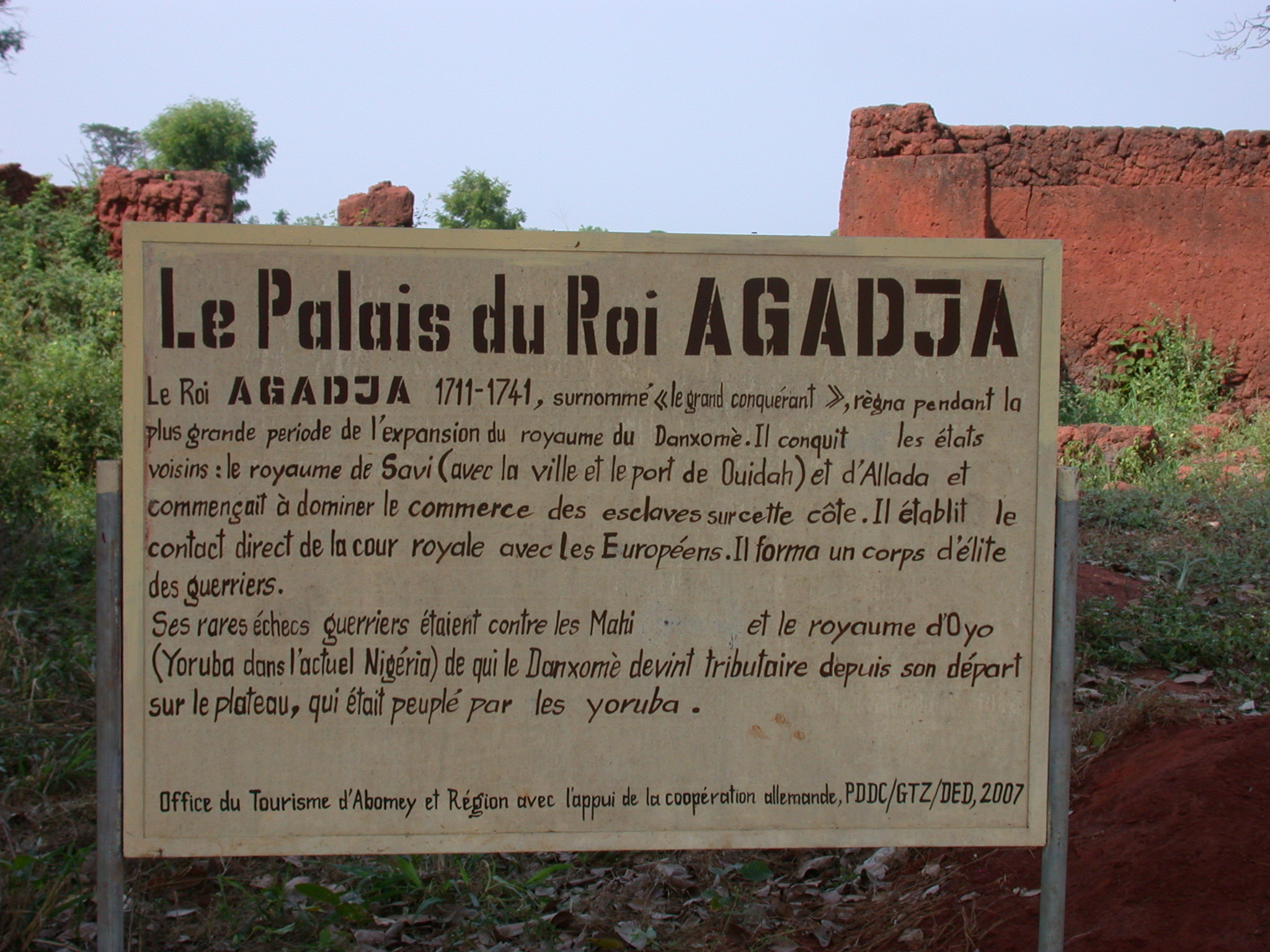 Sign for the Palace of King Agadja, Abomey, Benin