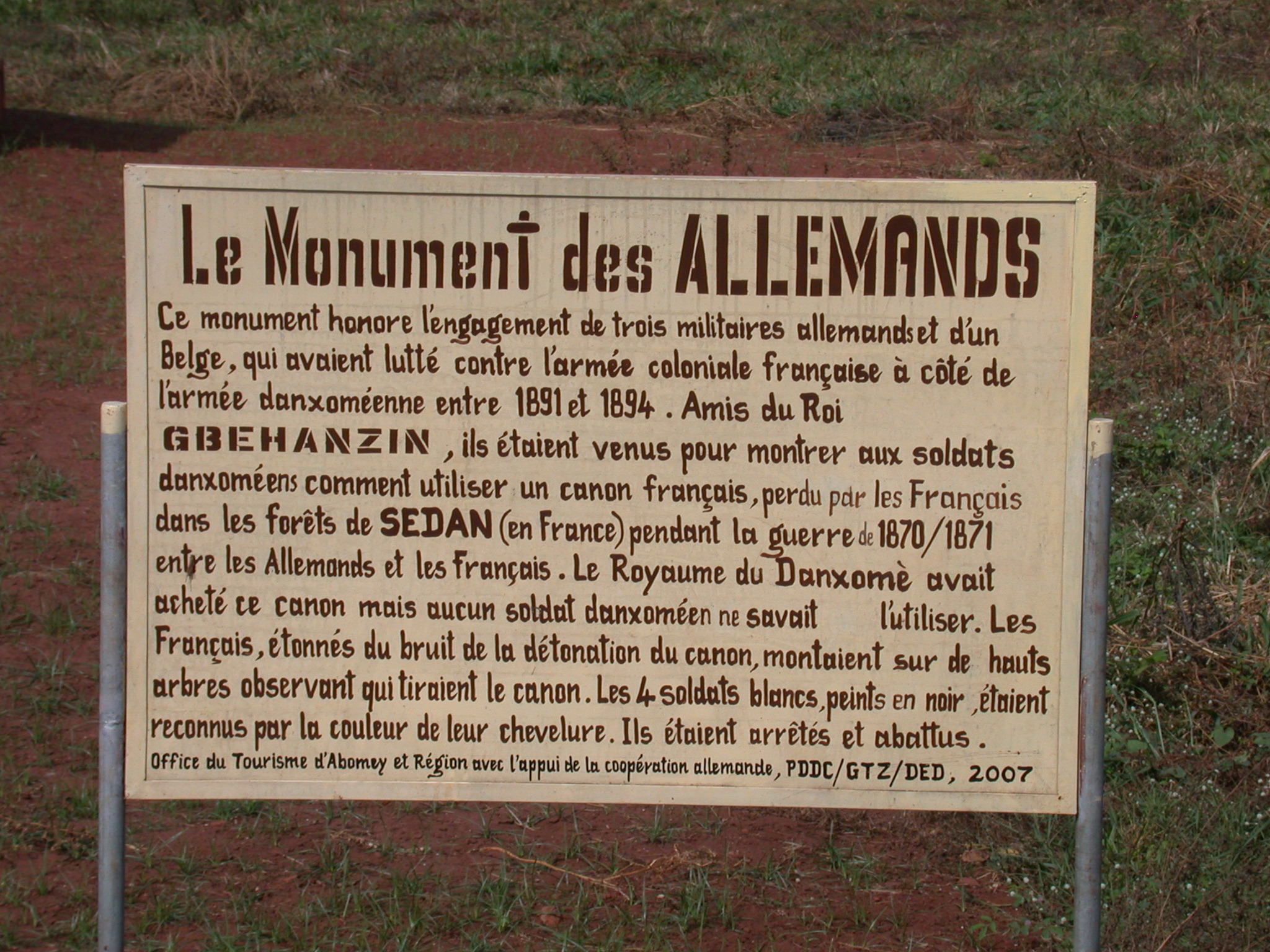 Sign for Monument to the Germans, Abomey, Benin