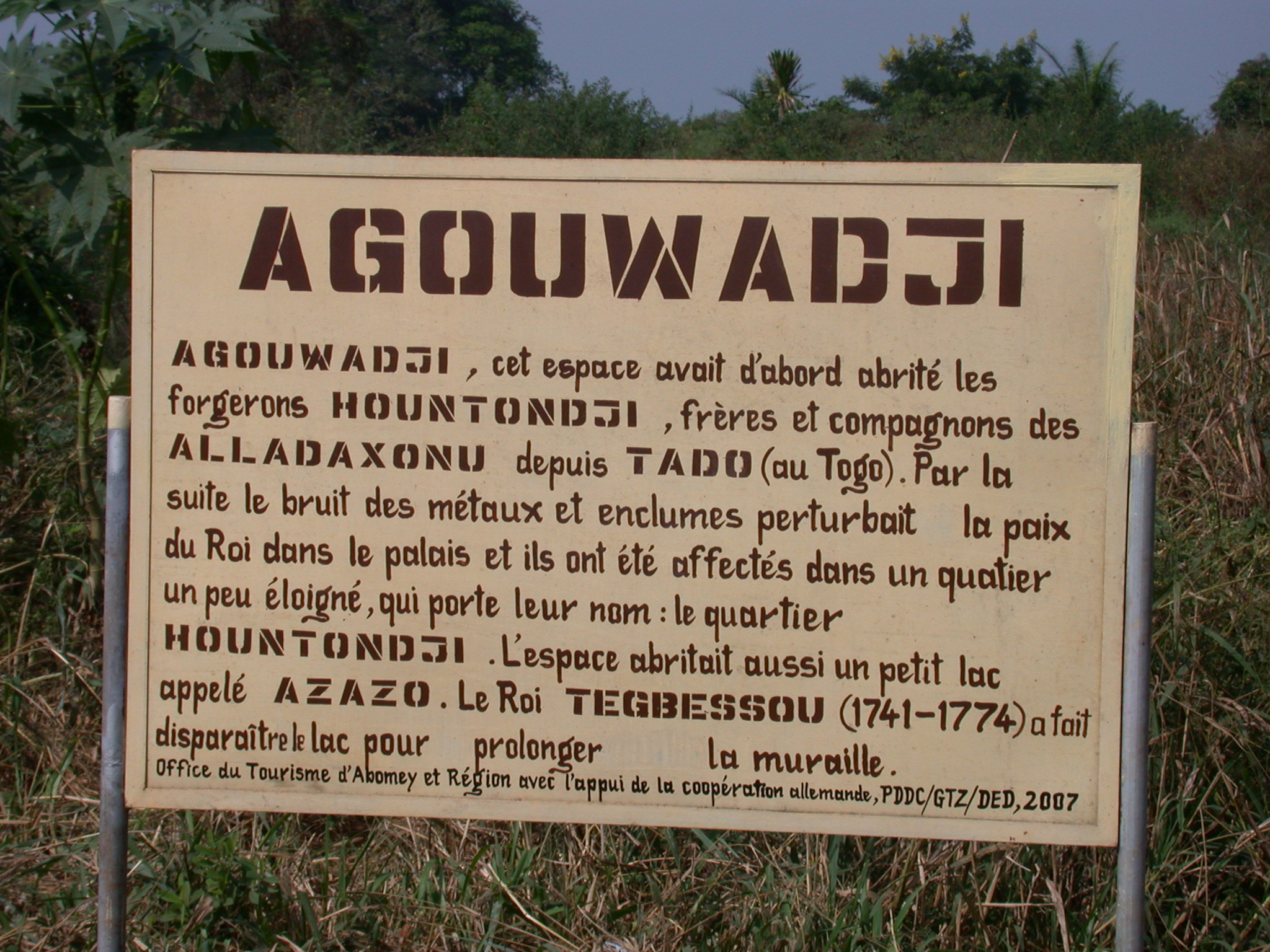 Sign for Agouwadji Blacksmith Shelter, Abomey, Benin