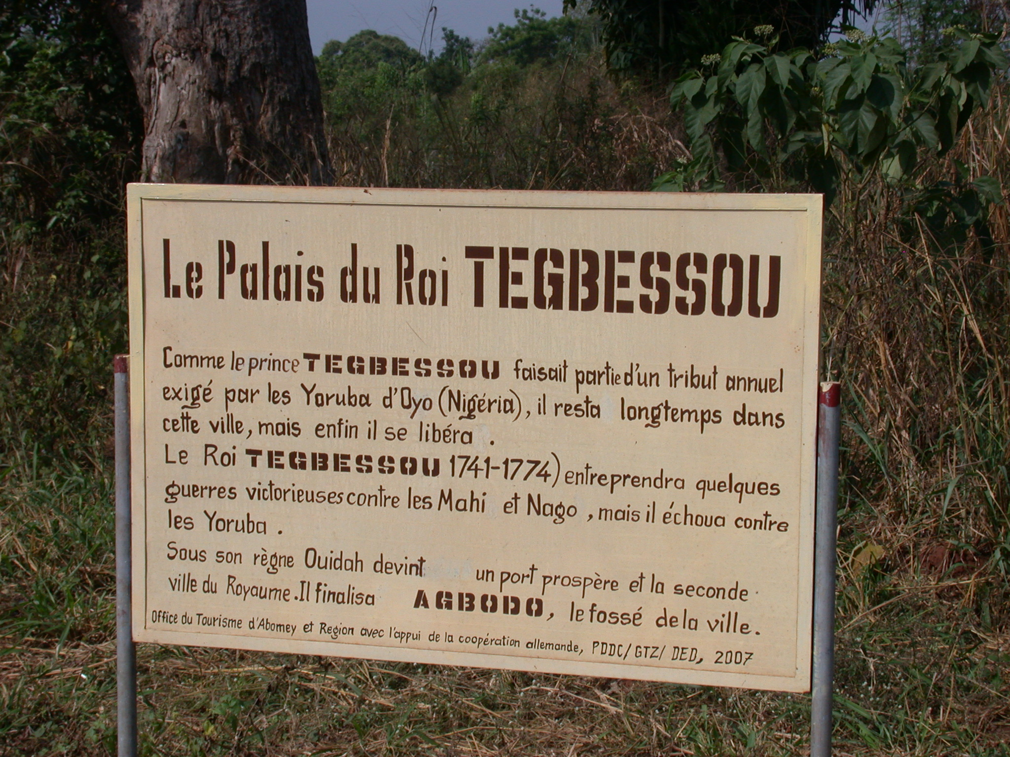 Sign for Palace of King Tegbessou, Abomey, Benin