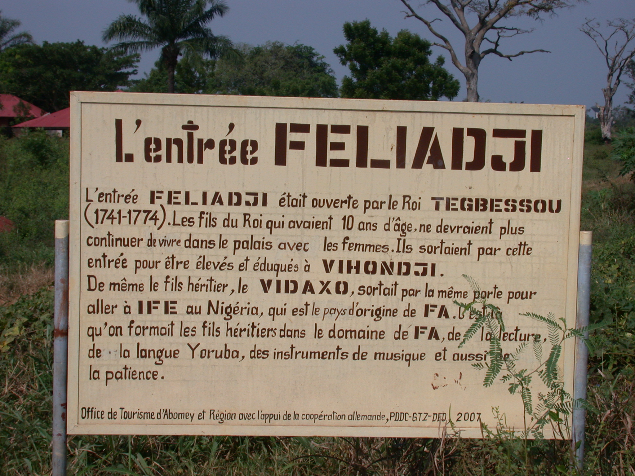 Sign for Feliadji Entrance, Abomey, Benin