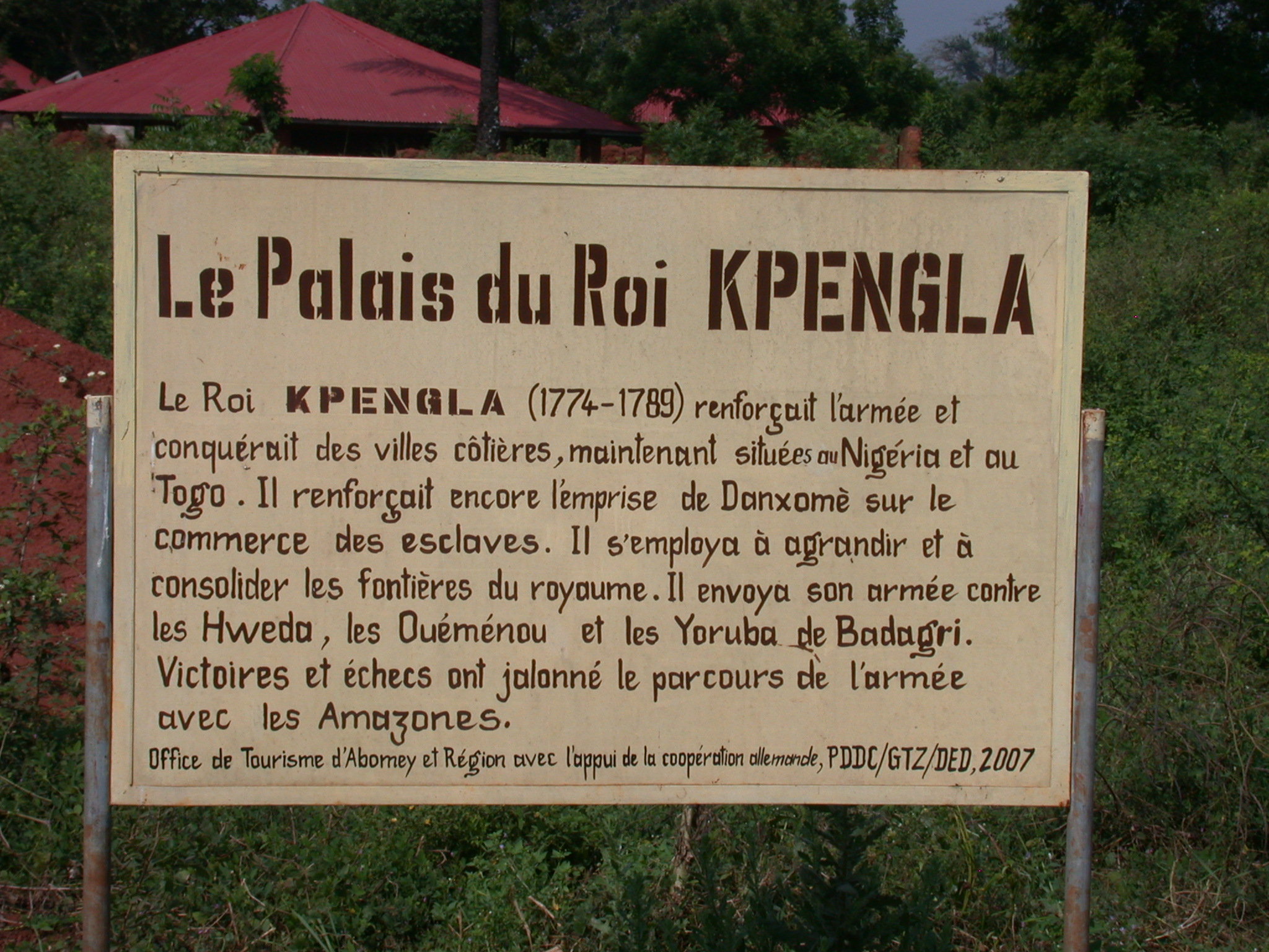 Sign for Palace of King Kpengla, Abomey, Benin