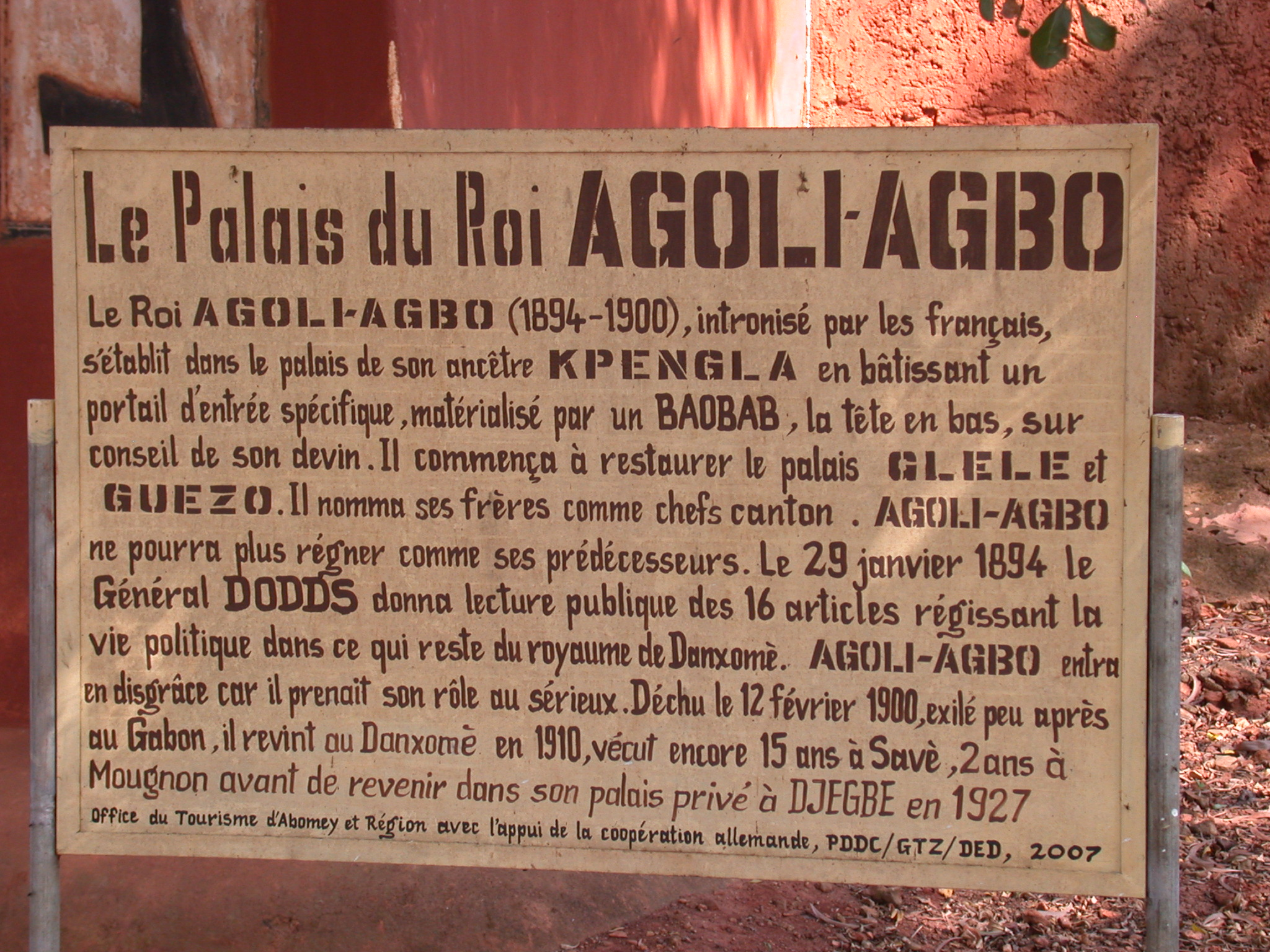 Sign for Palace of King Agoli-Agbo, Abomey, Benin