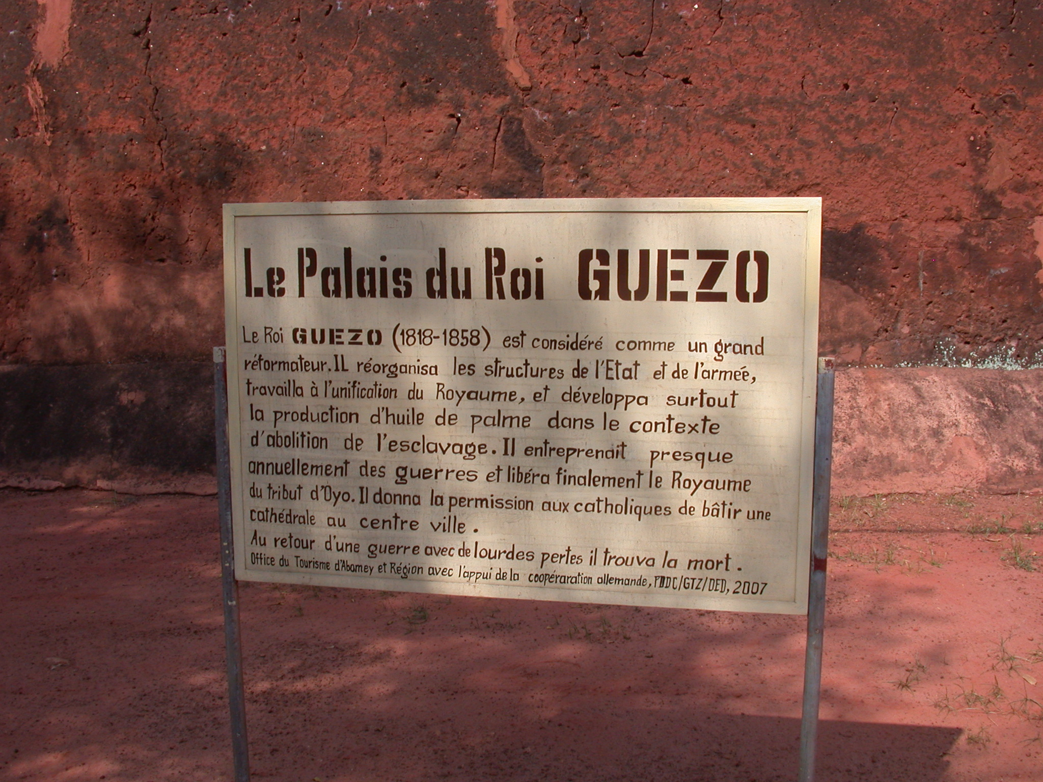 Sign for the Palace of King Guezo, Abomey, Benin