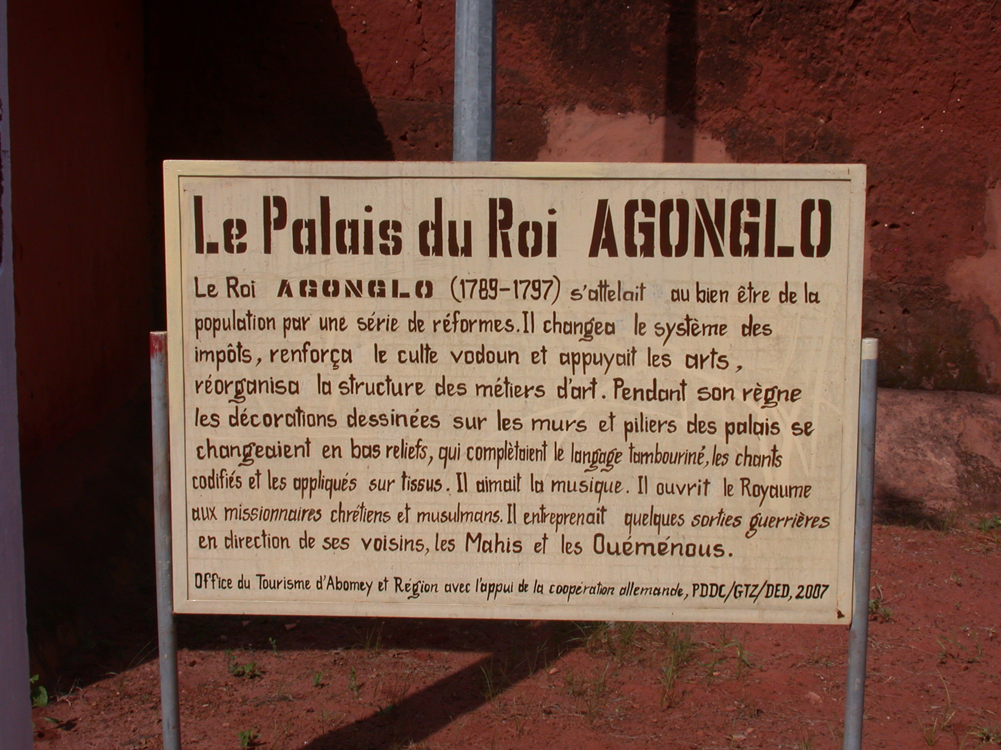 Sign for Palace of King Agonglo, Abomey, Benin