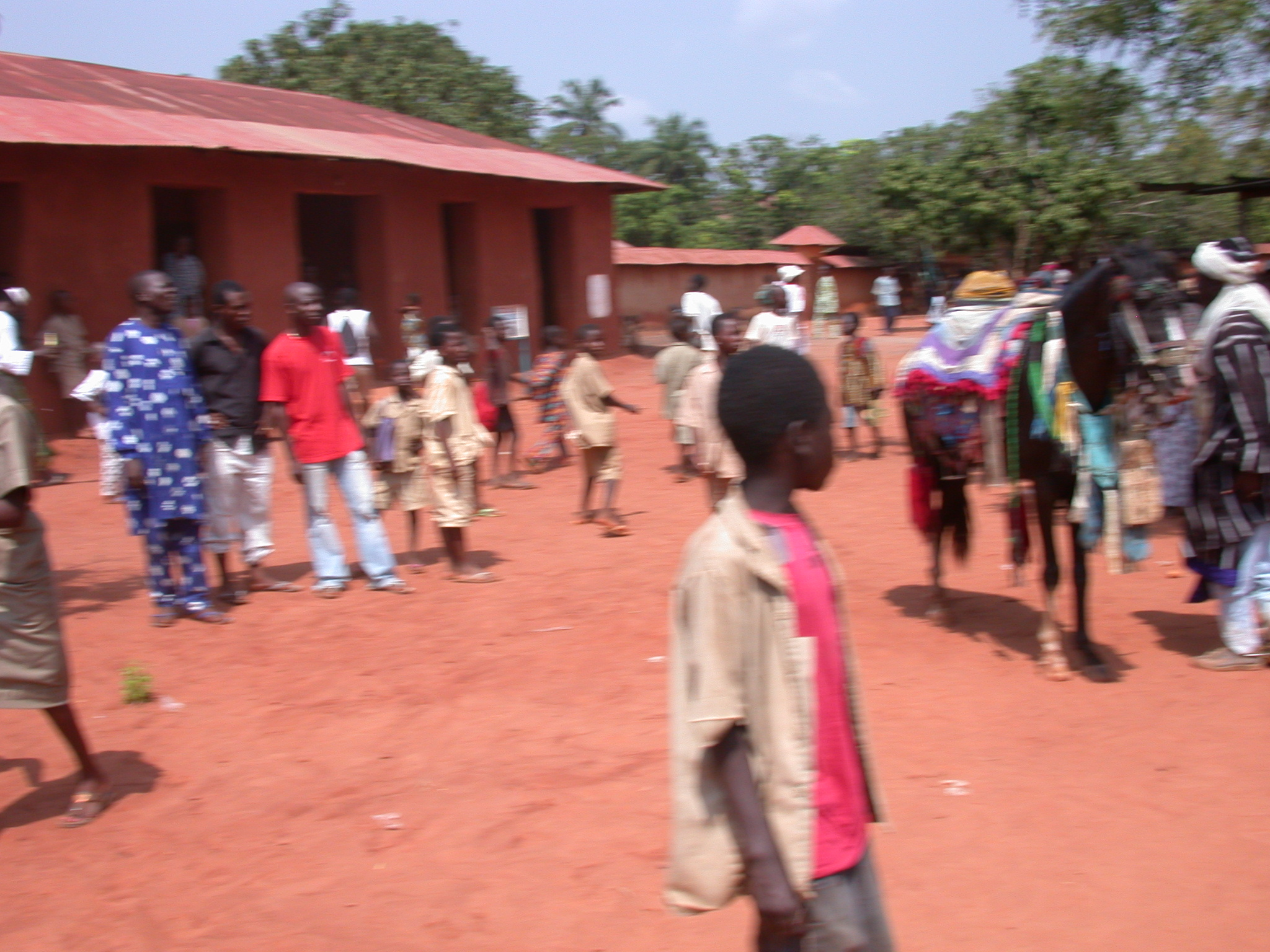 Blurry Fancy Dress Horse at Danxome Festival Celebrations at Palace Grounds, Abomey History Museum, Abomey, Benin