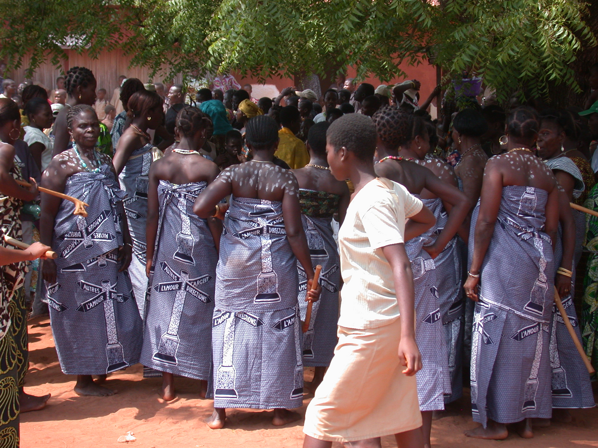 Female Troupe Preparing for Ritual Dancing, Danxome Festival Celebrations at Palace Grounds, Abomey History Museum, Abomey, Benin