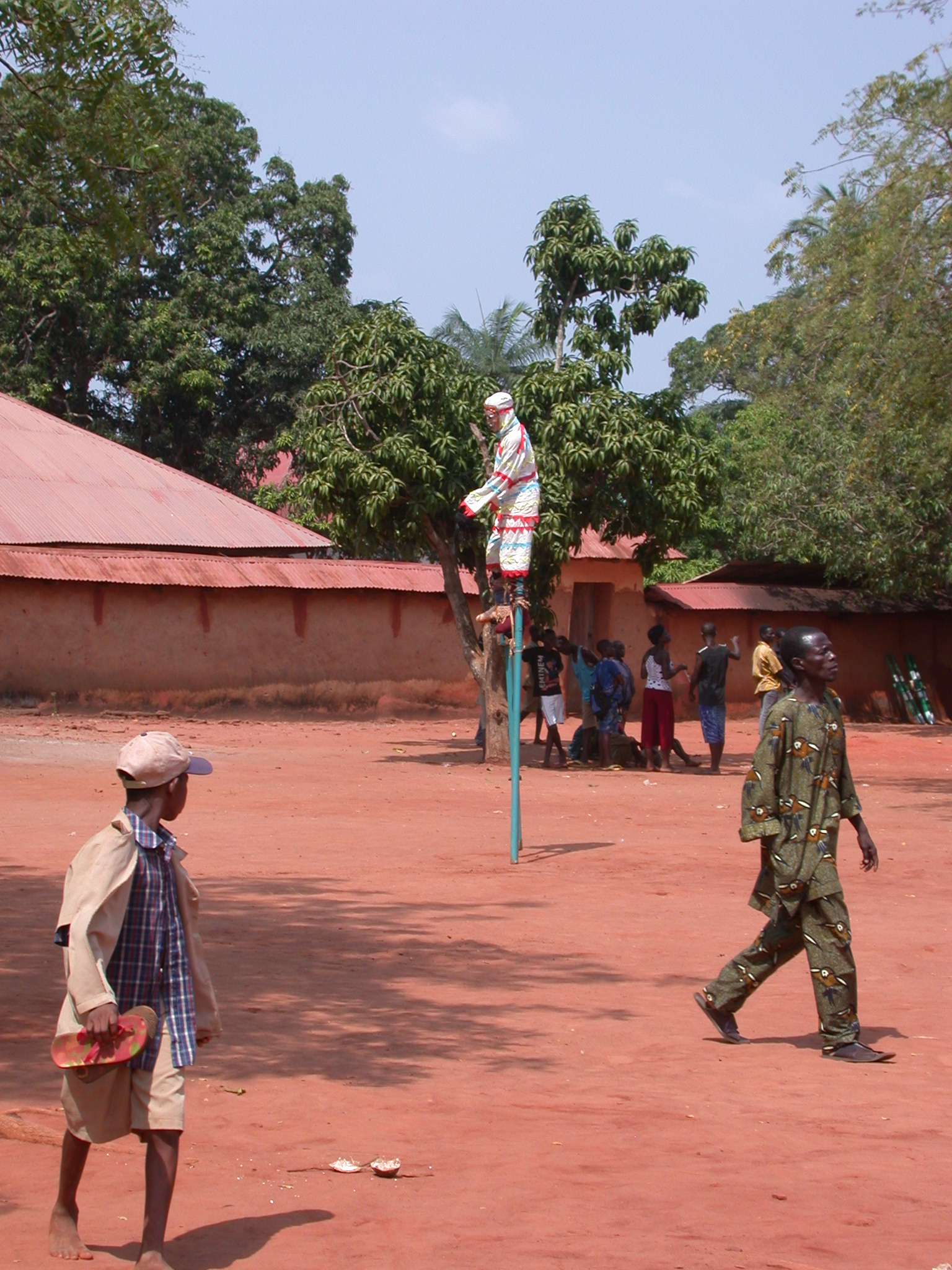 Stiltwalker, Danxome Festival Celebrations at Palace Grounds, Abomey History Museum, Abomey, Benin