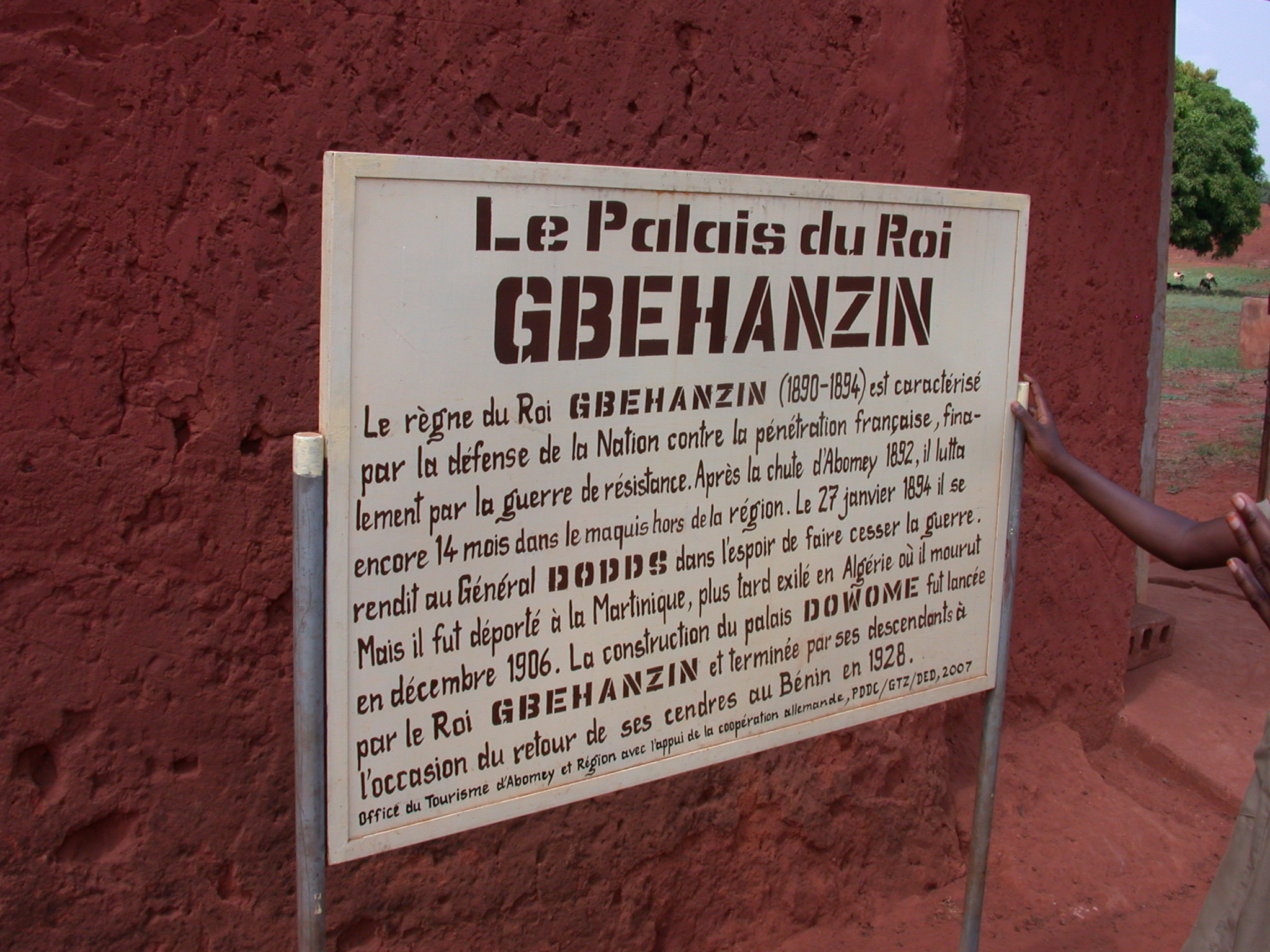 Sign for Palace of King Gbehanzin, Abomey, Benin