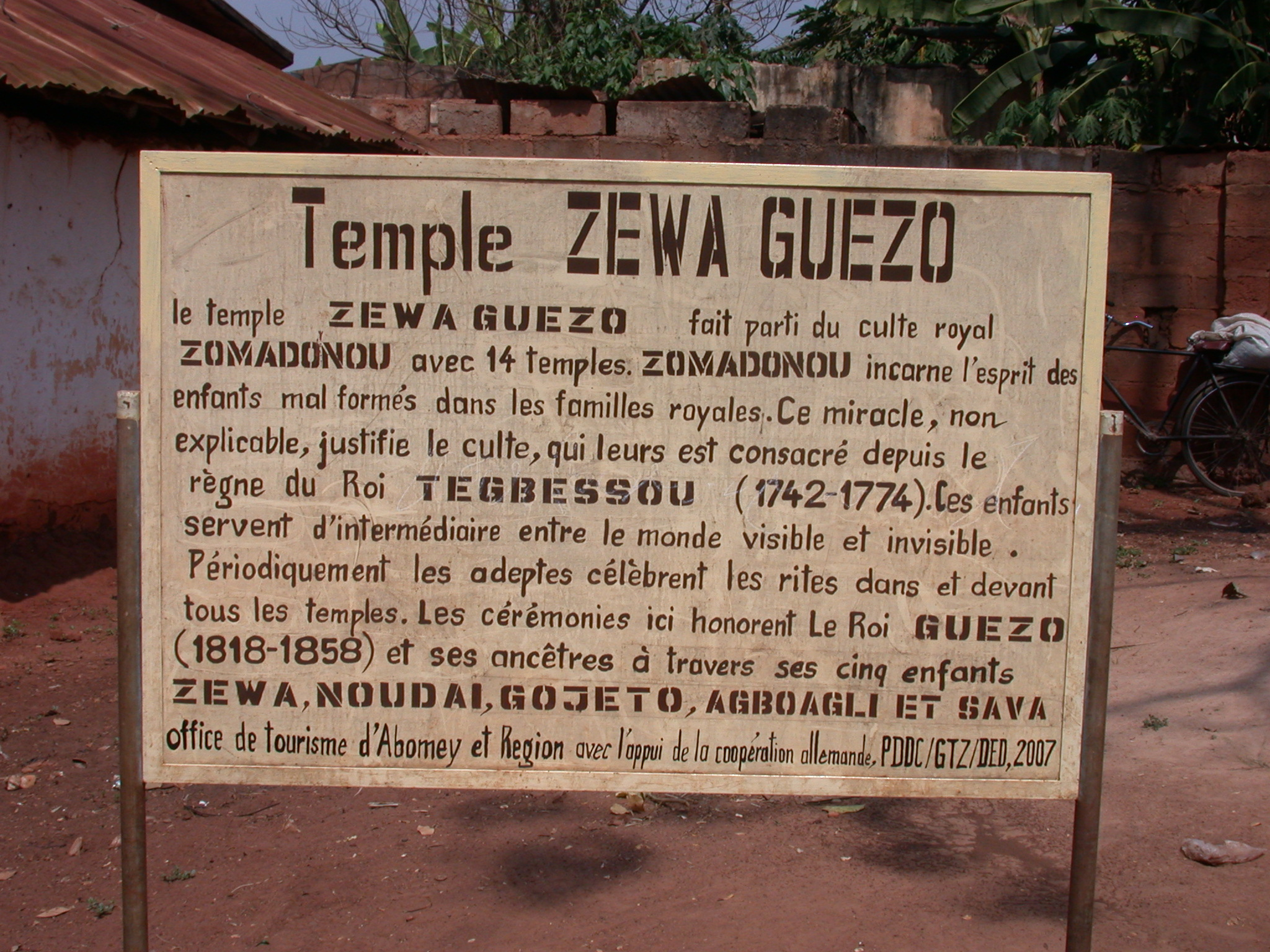 Sign for Zewa Guezo Temple, Abomey, Benin
