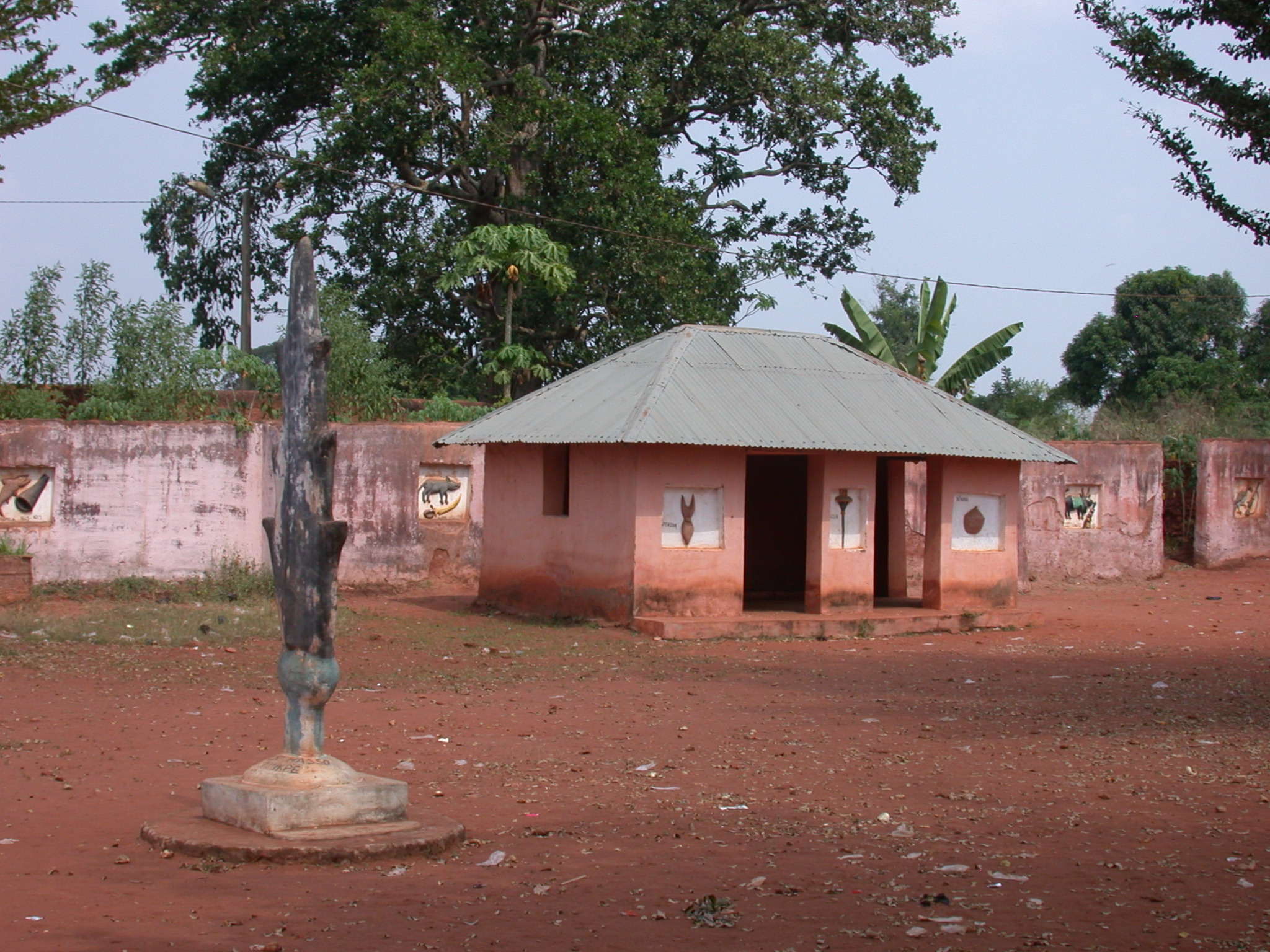 Sculpture and Building in Courtyard, Palace of Crown Prince Agonglo, Abomey, Benin