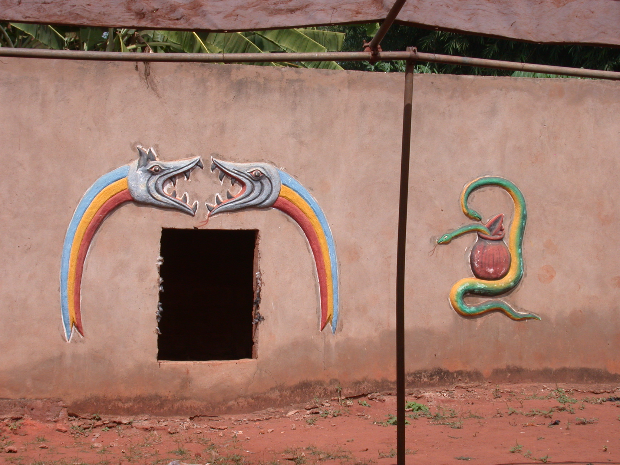 Symbols on Compound Wall, One Reminiscent of Dan Rainbow Serpent, Houemou Agonglo Temple, Abomey, Benin