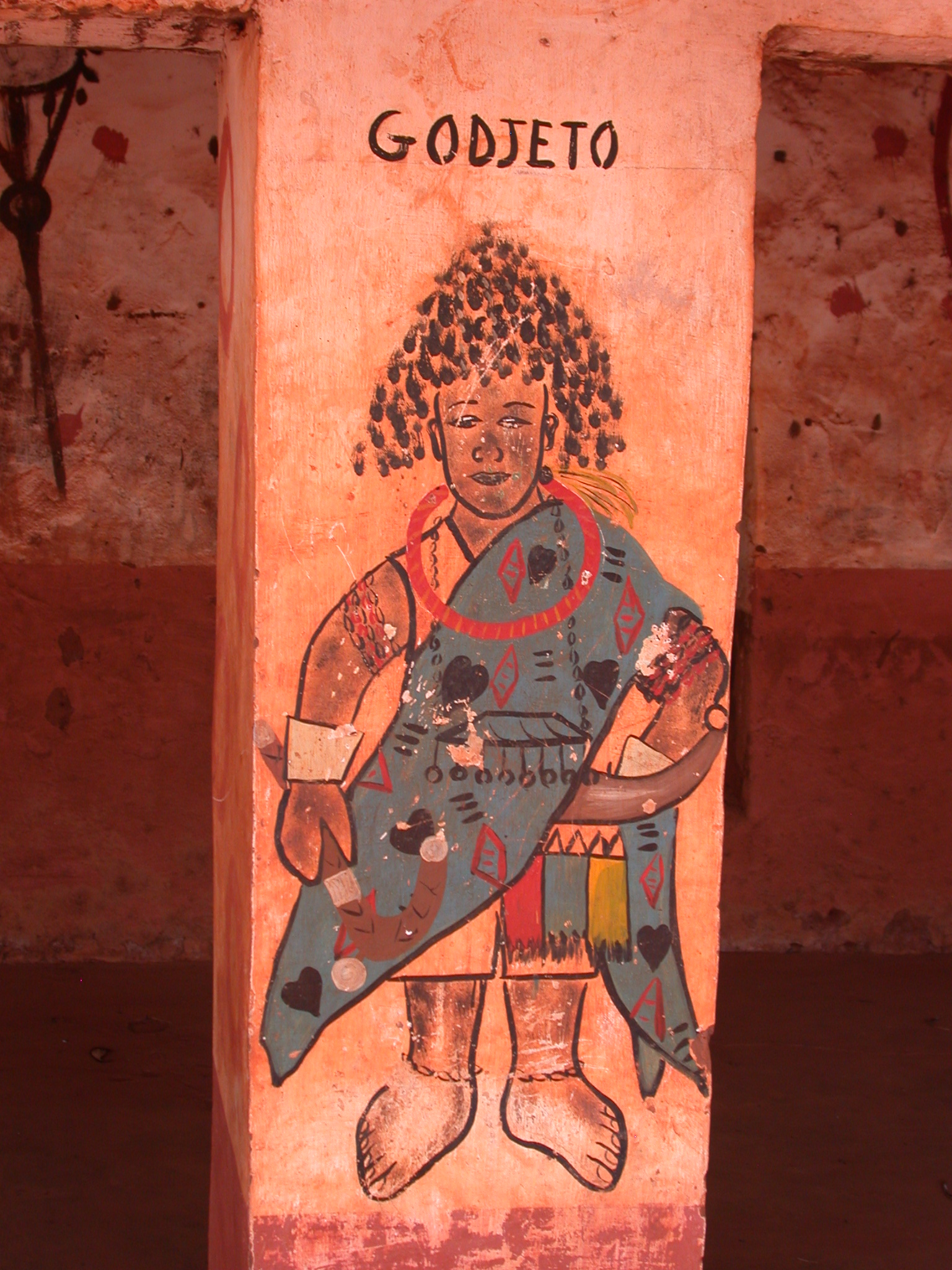 Godjeto Painting on Compound Pillar, Houemou Agonglo Temple, Abomey, Benin