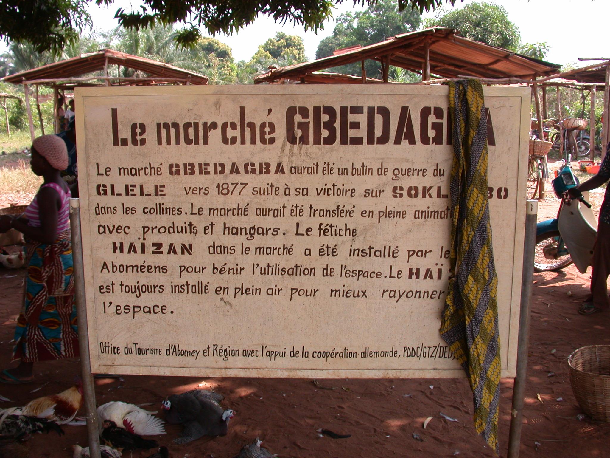 Sign for Gbedagba Market, Abomey, Benin