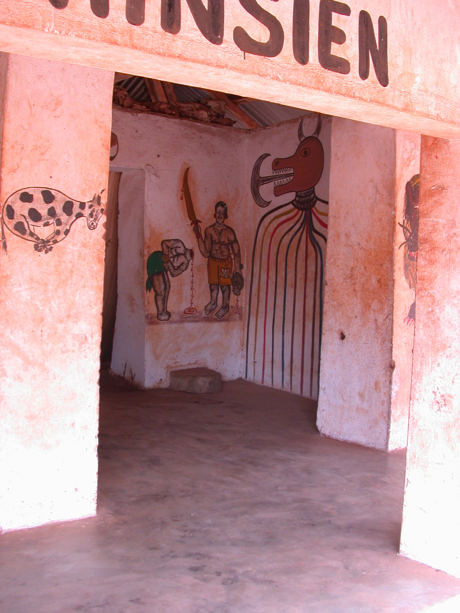 Painting of Decapitation in Semassou Glele Temple, Abomey, Benin