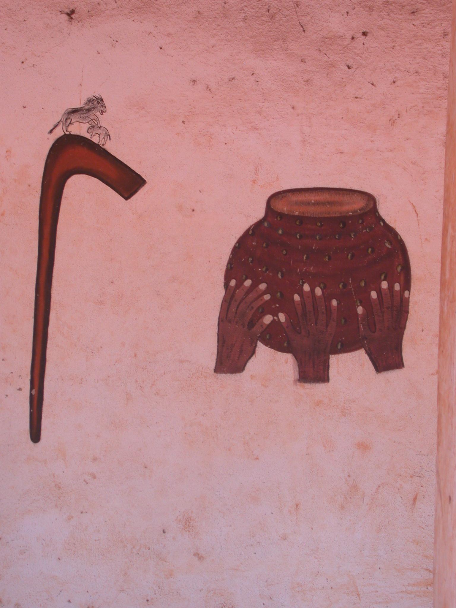 Painting in Semassou Glele Temple, Abomey, Benin