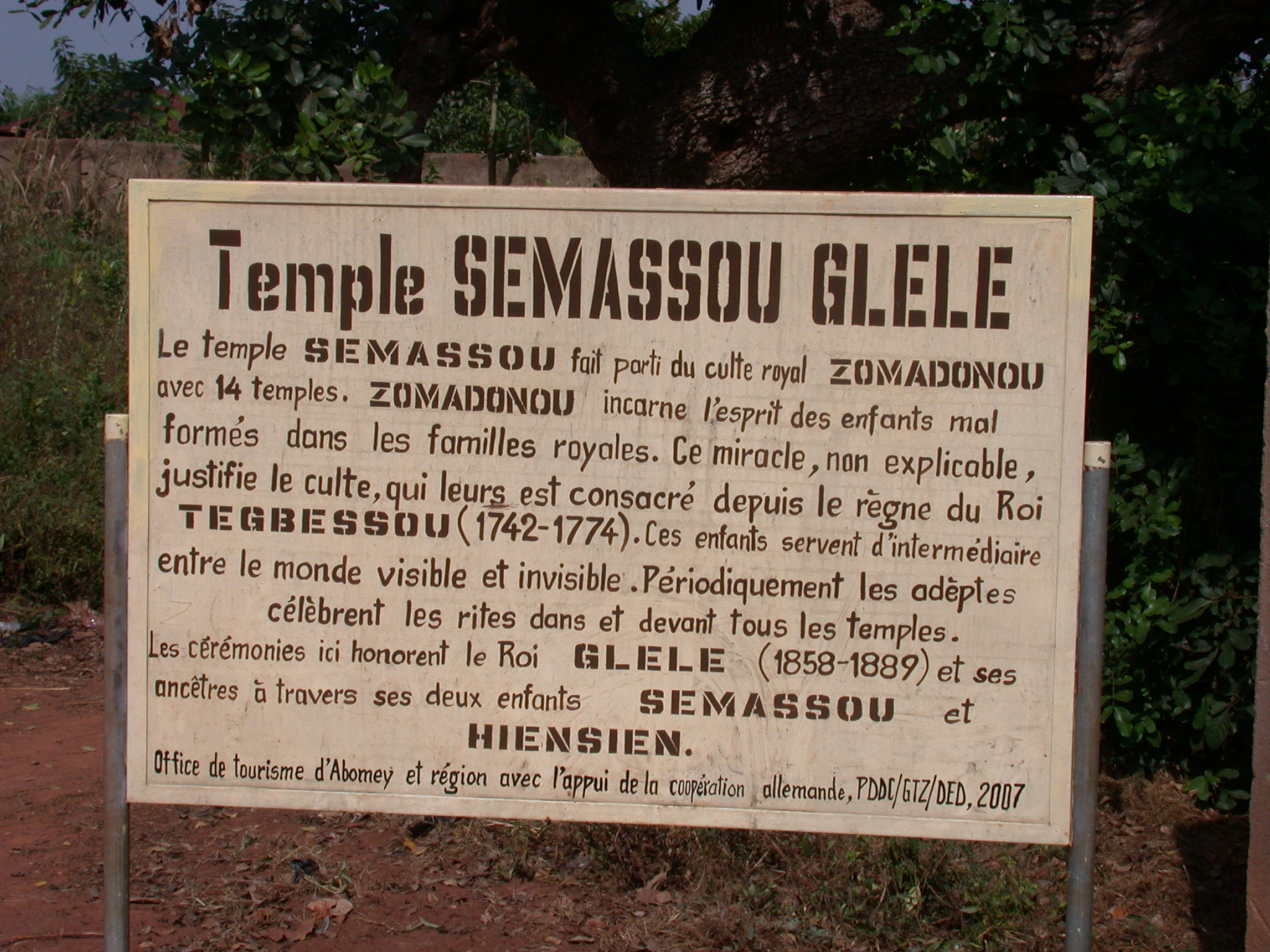 Sign for Semassou Glele Temple, Abomey, Benin