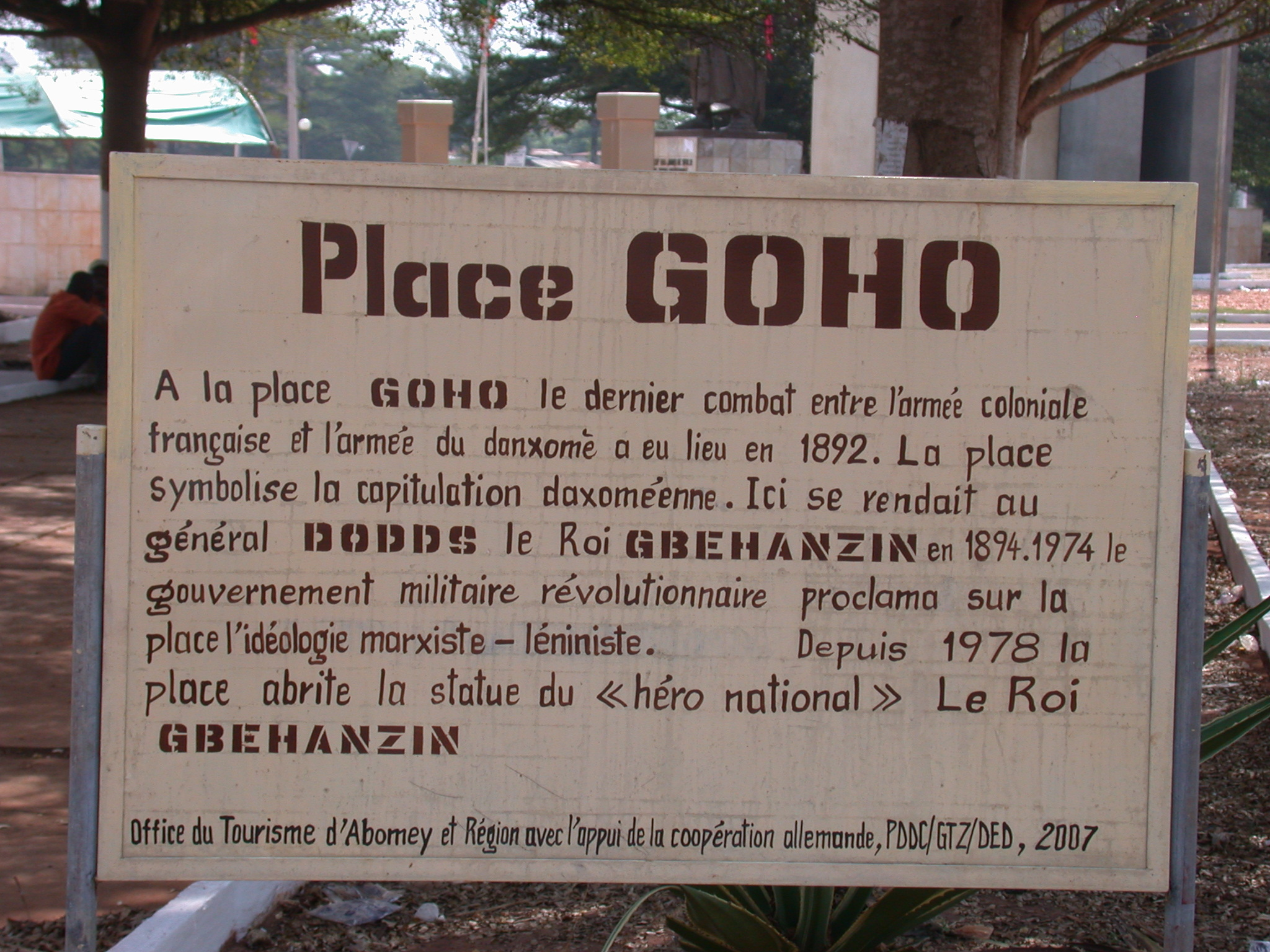Sign for Place Goho, Abomey, Benin