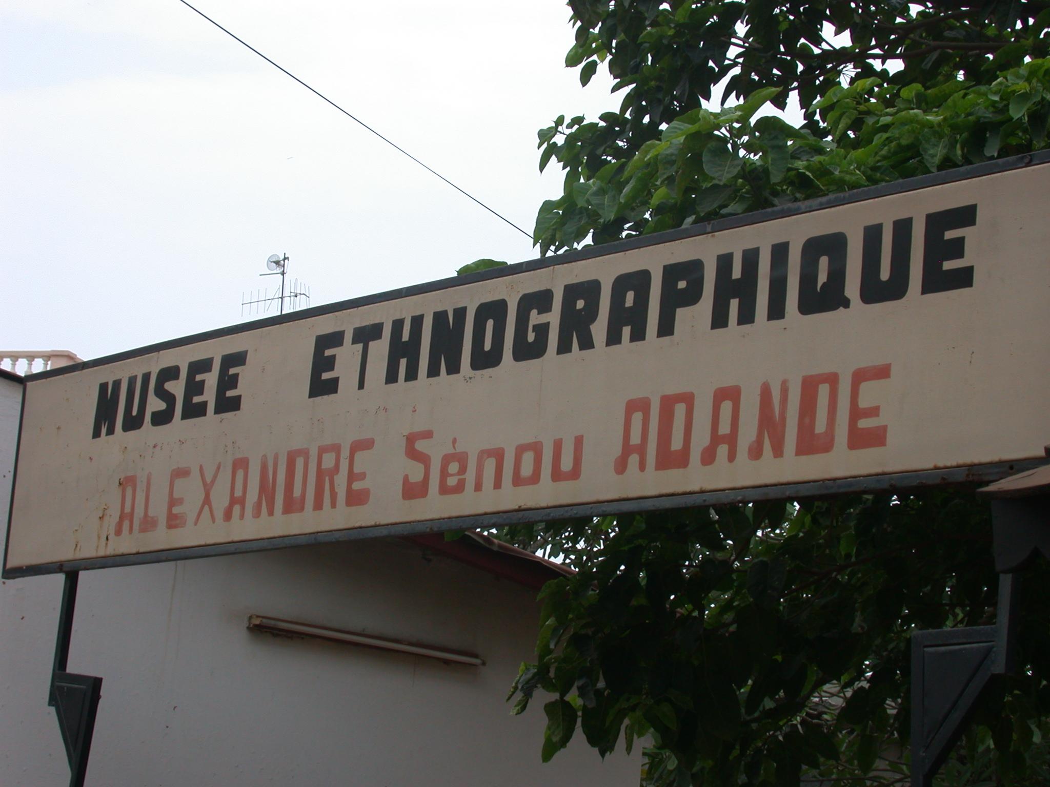 Sign for Musée Ethnographique, Porto Novo, Benin