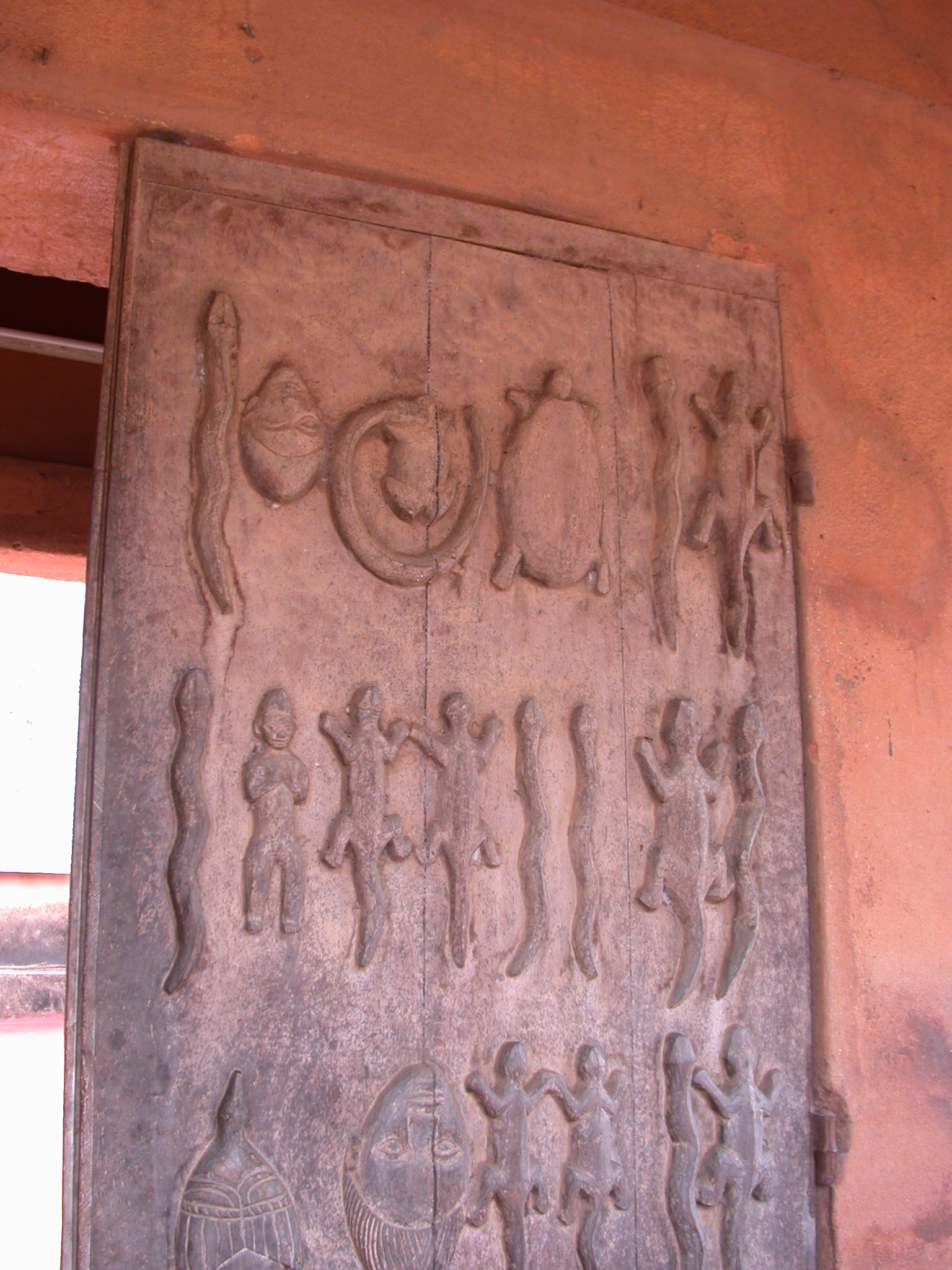 Carved Wooden Entrance Door to Musée Honmé, Porto Novo, Benin