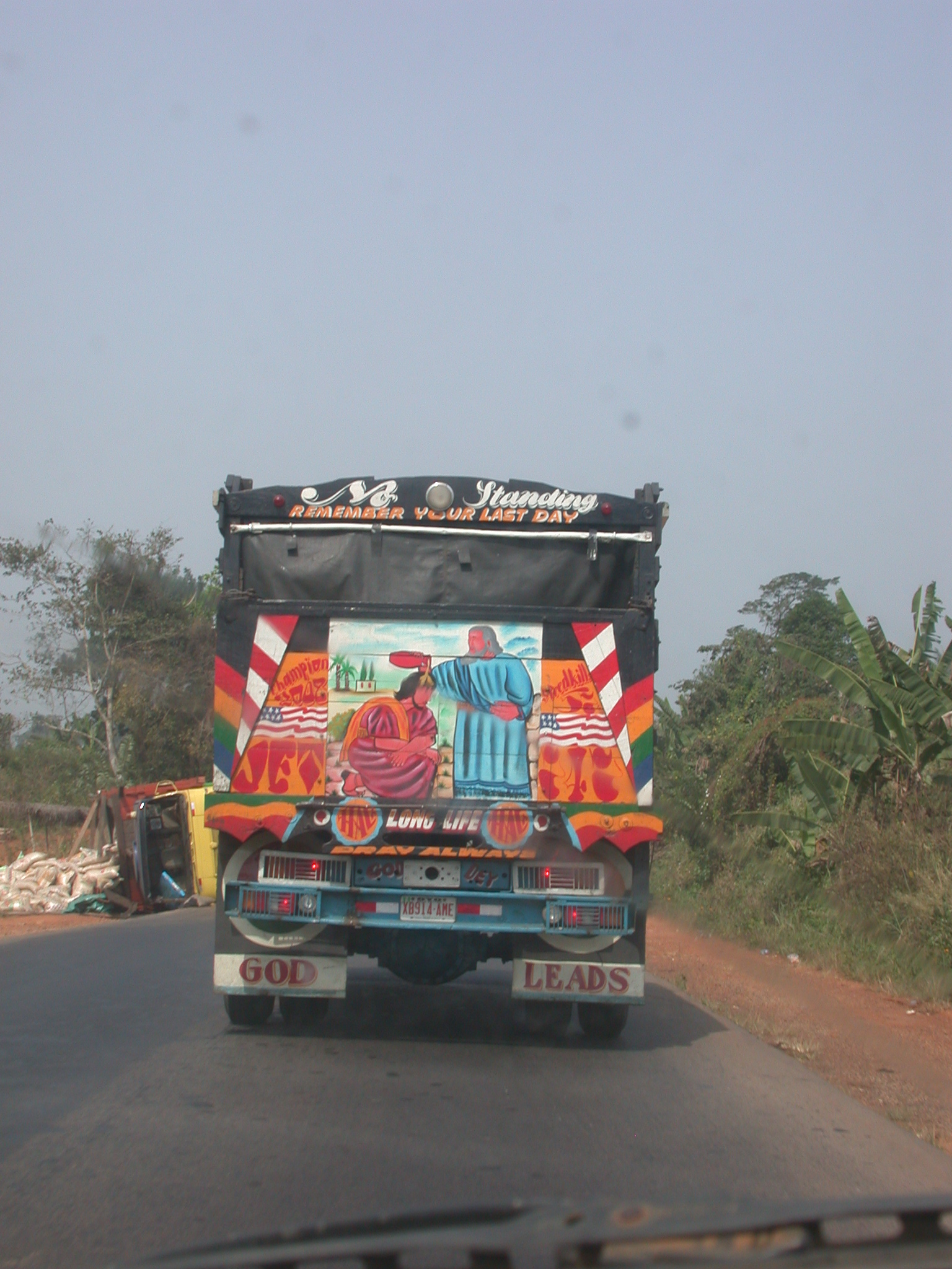 Christian Decorations on Back of Truck, Route from Benin City to Ile-Ife, Nigeria