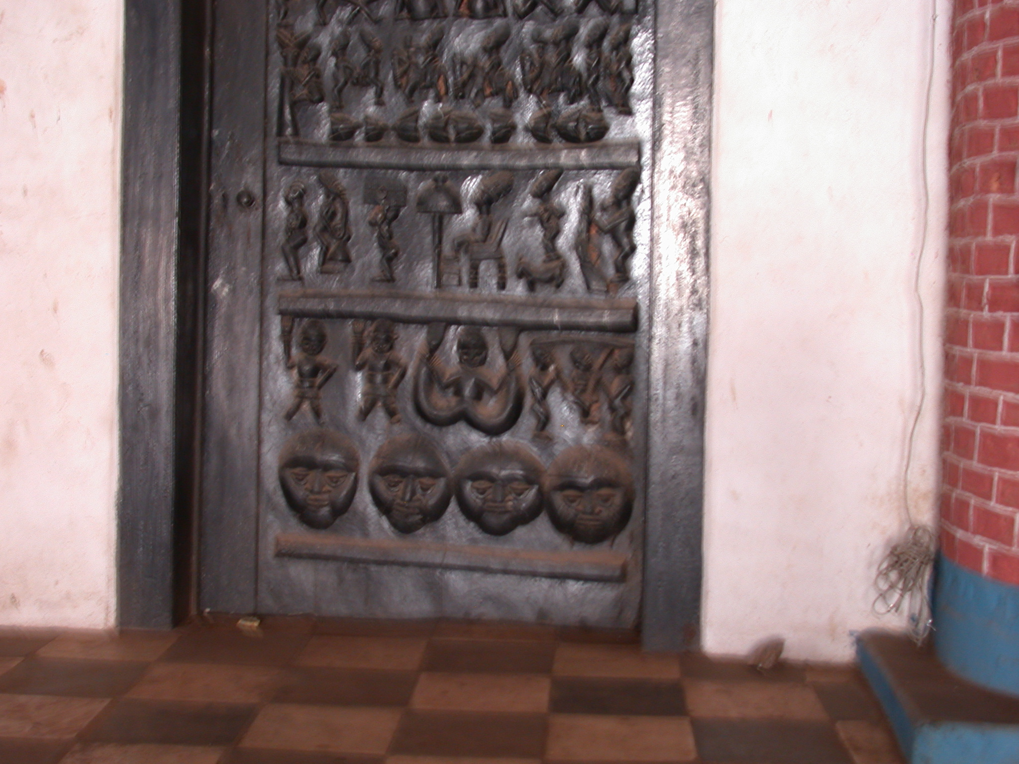 Nigeria carved wooden palace door oba palace ile ife nigeria