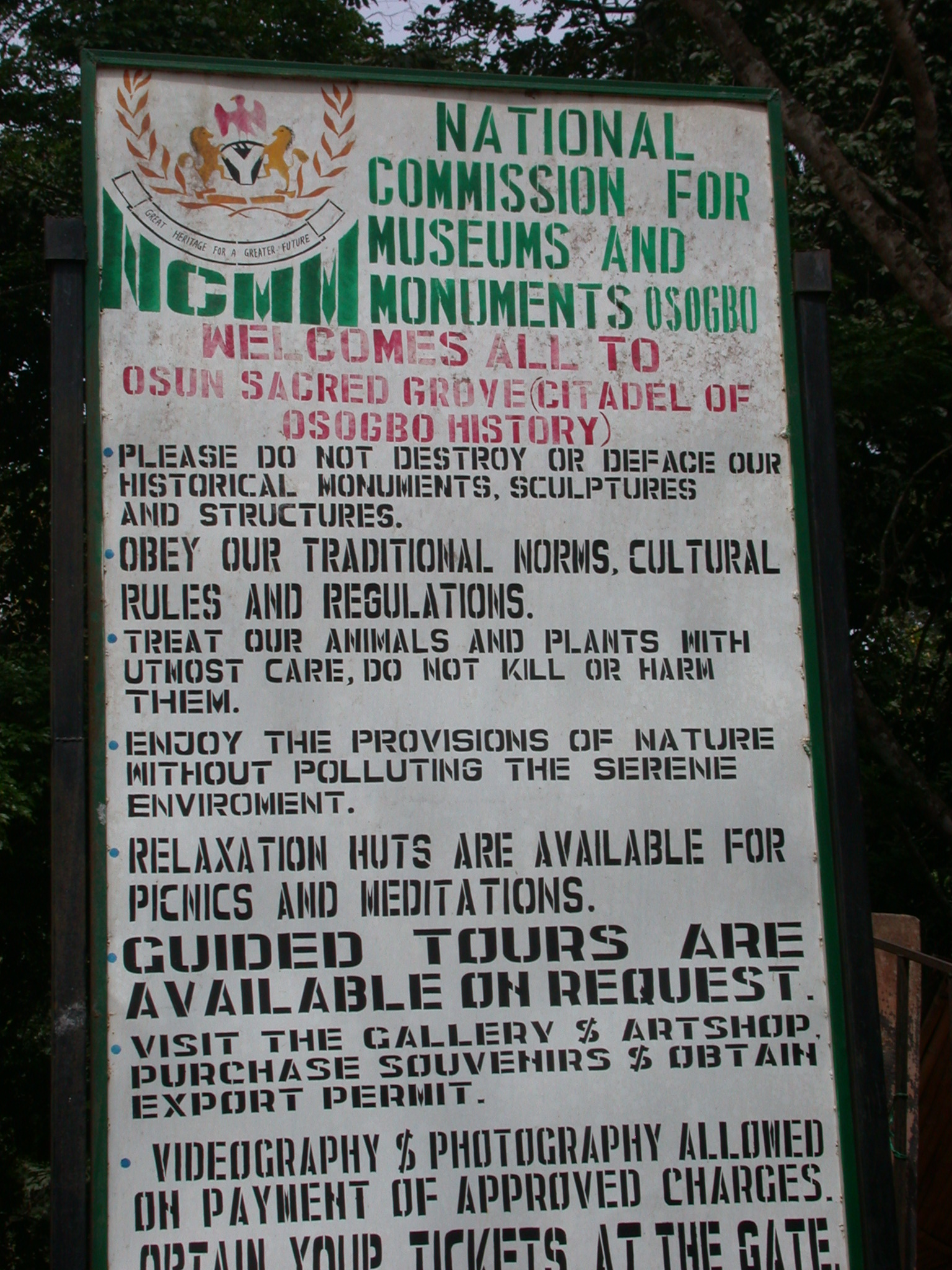 UNESCO Sign for Osun Sacred Grove, Oshogbo, Nigeria