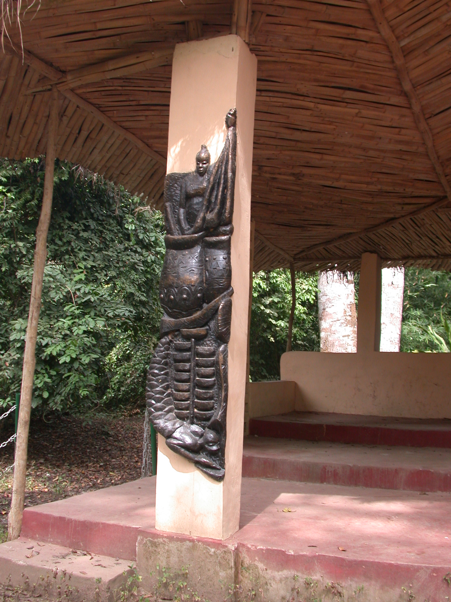 Art on Pillar of Ceremonial Platform, Osun Sacred Grove, Oshogbo, Nigeria