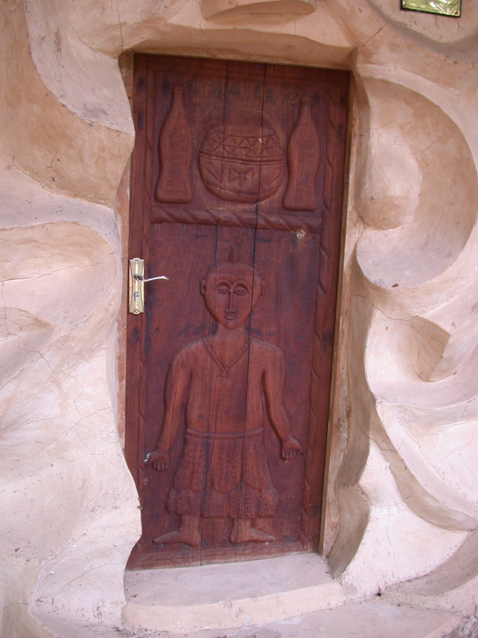 Closeup of Carved Wooden Door, Another Meeting Building, Osun Sacred Grove, Oshogbo, Nigeria