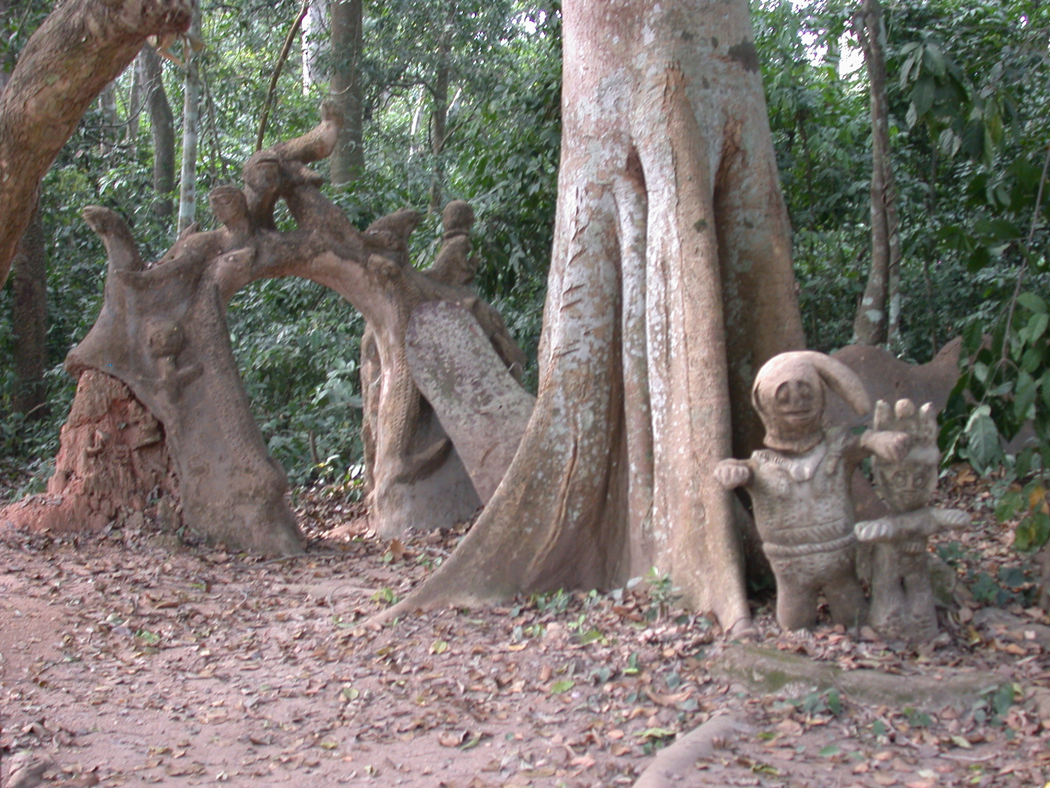 Sculptures on Access Road, Osun Sacred Grove, Oshogbo, Nigeria