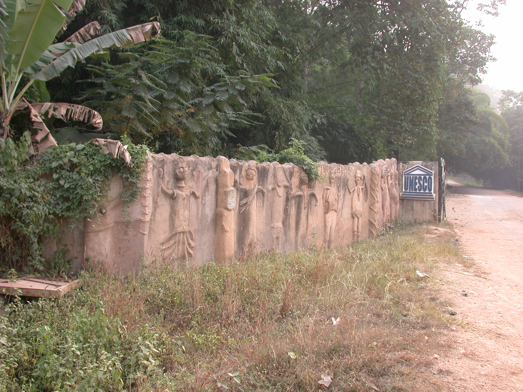 Sculptured Wall at Entrance, Osun Sacred Grove, Oshogbo, Nigeria