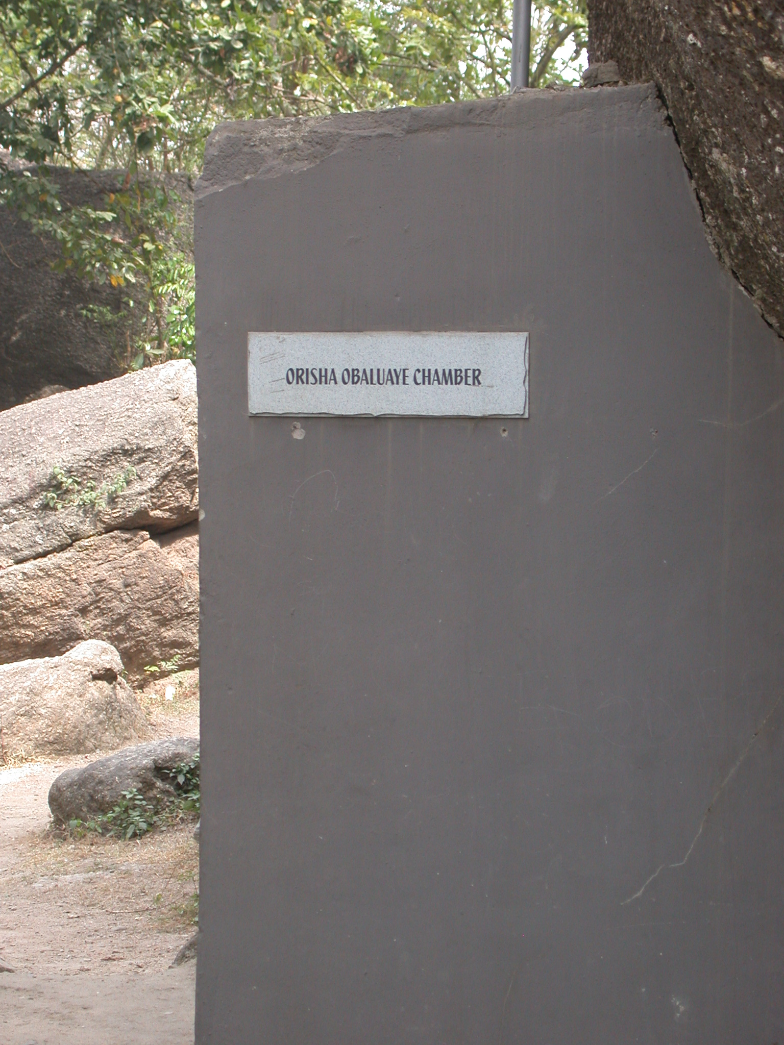 Sign for Hidden Orisha Obaluaye Chamber, Olumo Rock, Abeokuta, Nigeria
