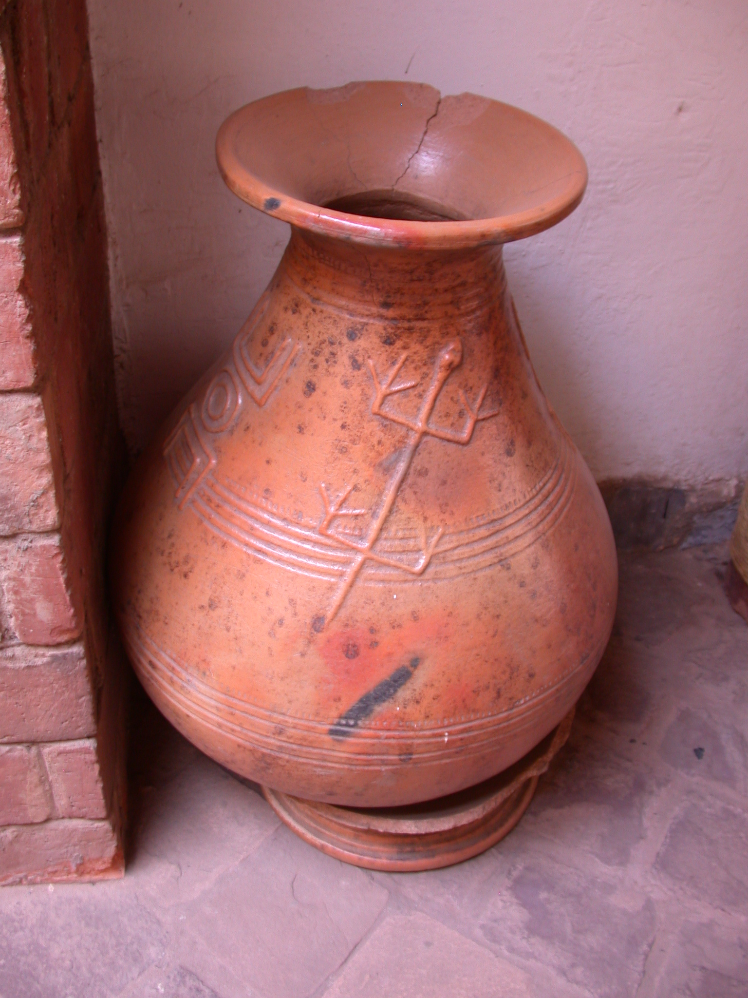 Ceramic Pot With Cool Designs, Main Corridor Downstairs, Hotel Djenne, Bamako, Mali