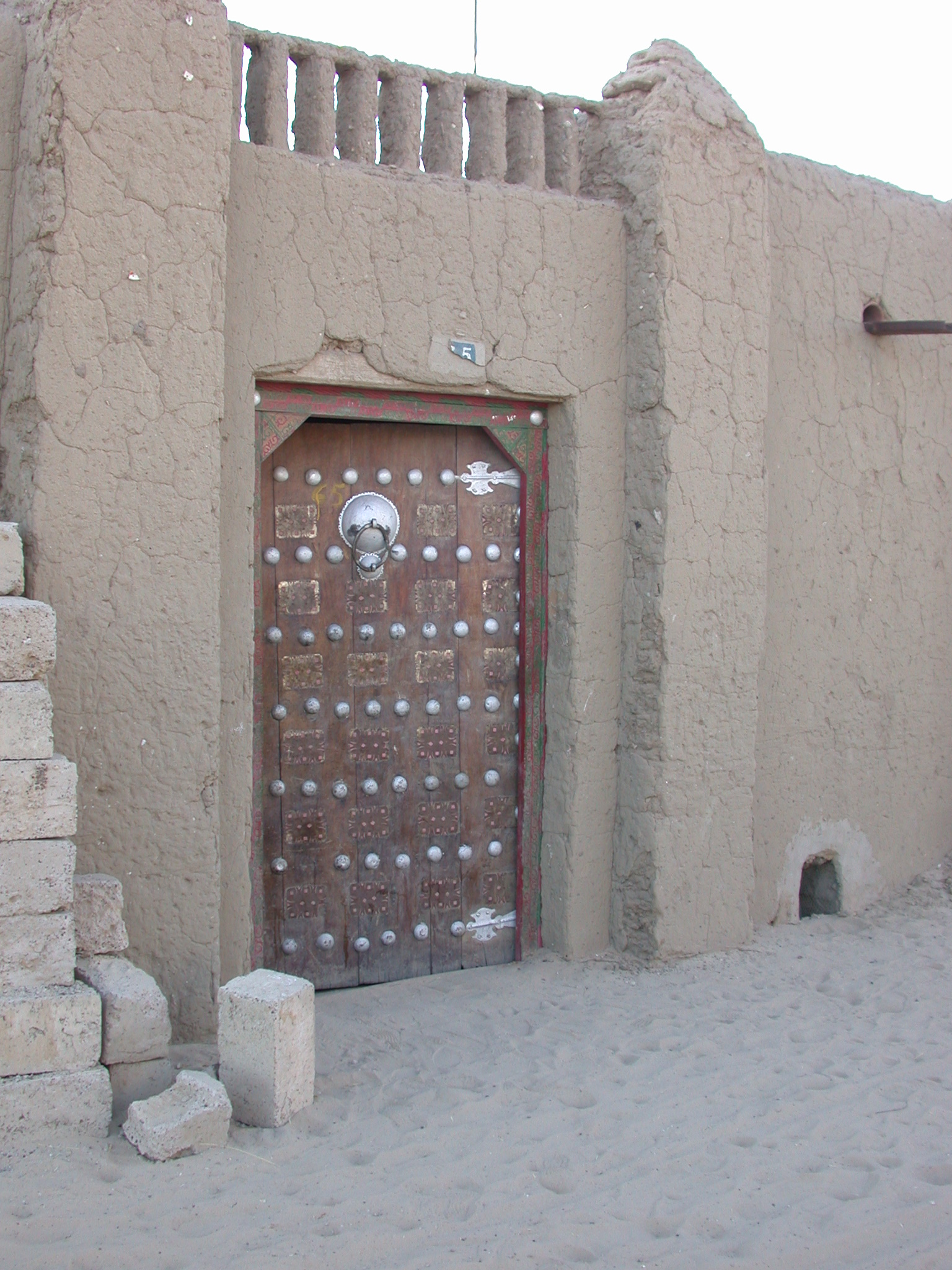Ornamented Wooden Door on Building Near Sankore Mosque, Timbuktu, Mali