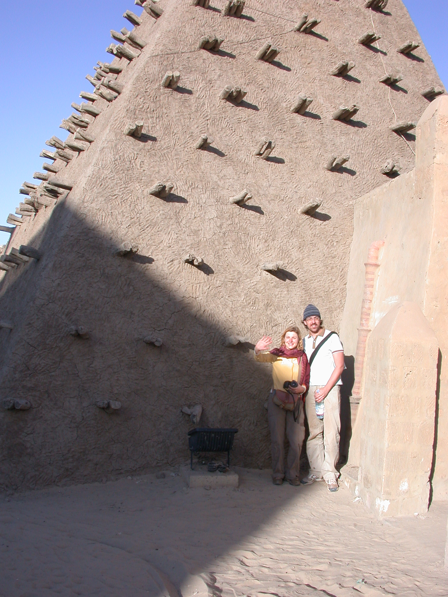 Senja and Vincent at Sankore Mosque, Timbuktu, Mali