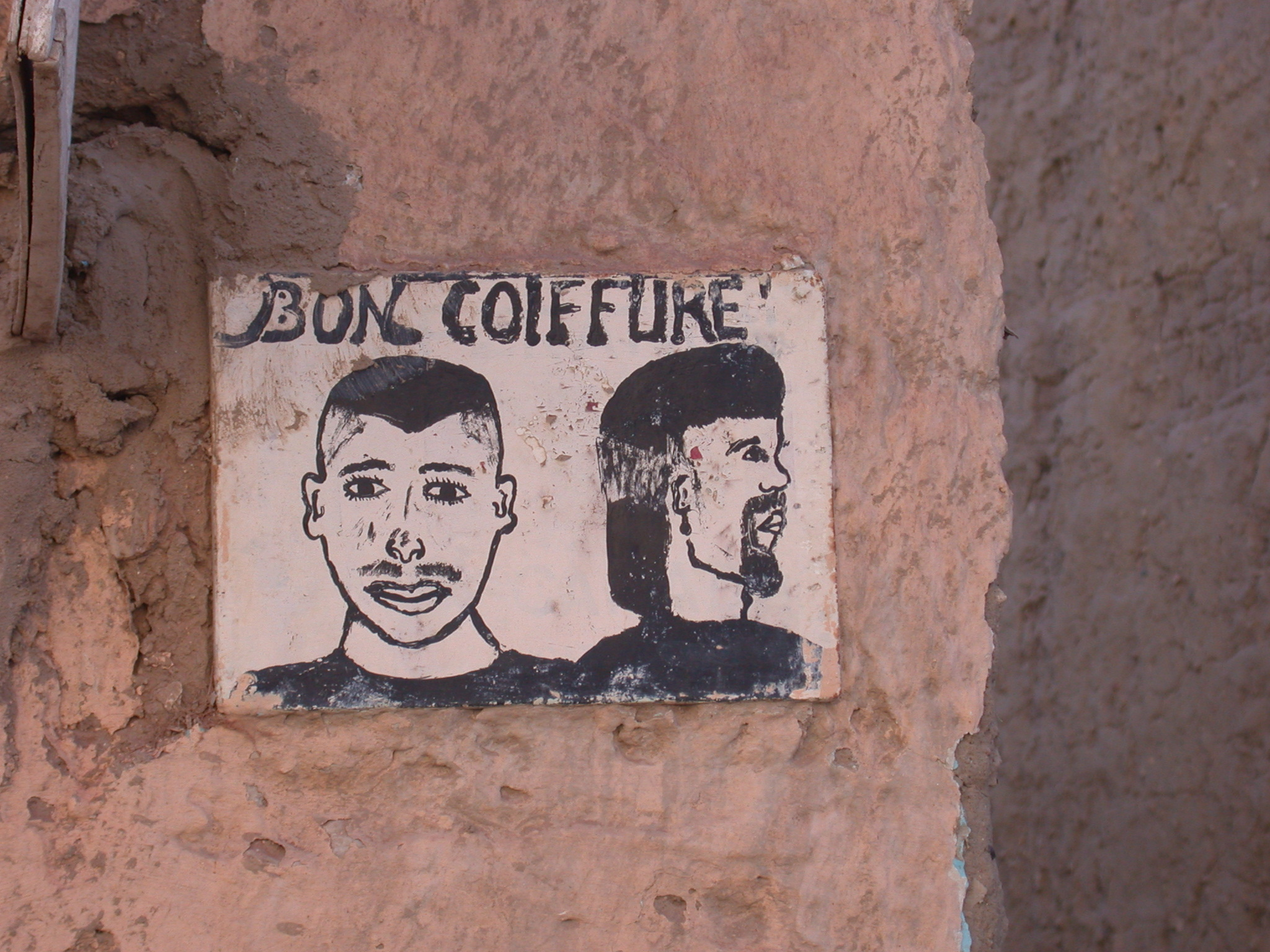 Painted Sign for Hairdresser, Timbuktu, Mali