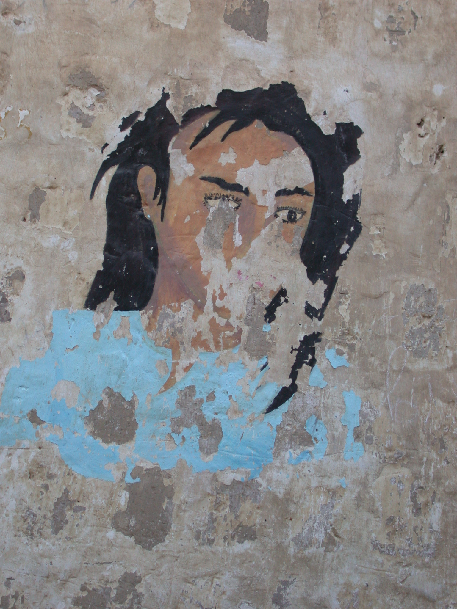 Faded Painting of Longhaired Man, Timbuktu, Mali