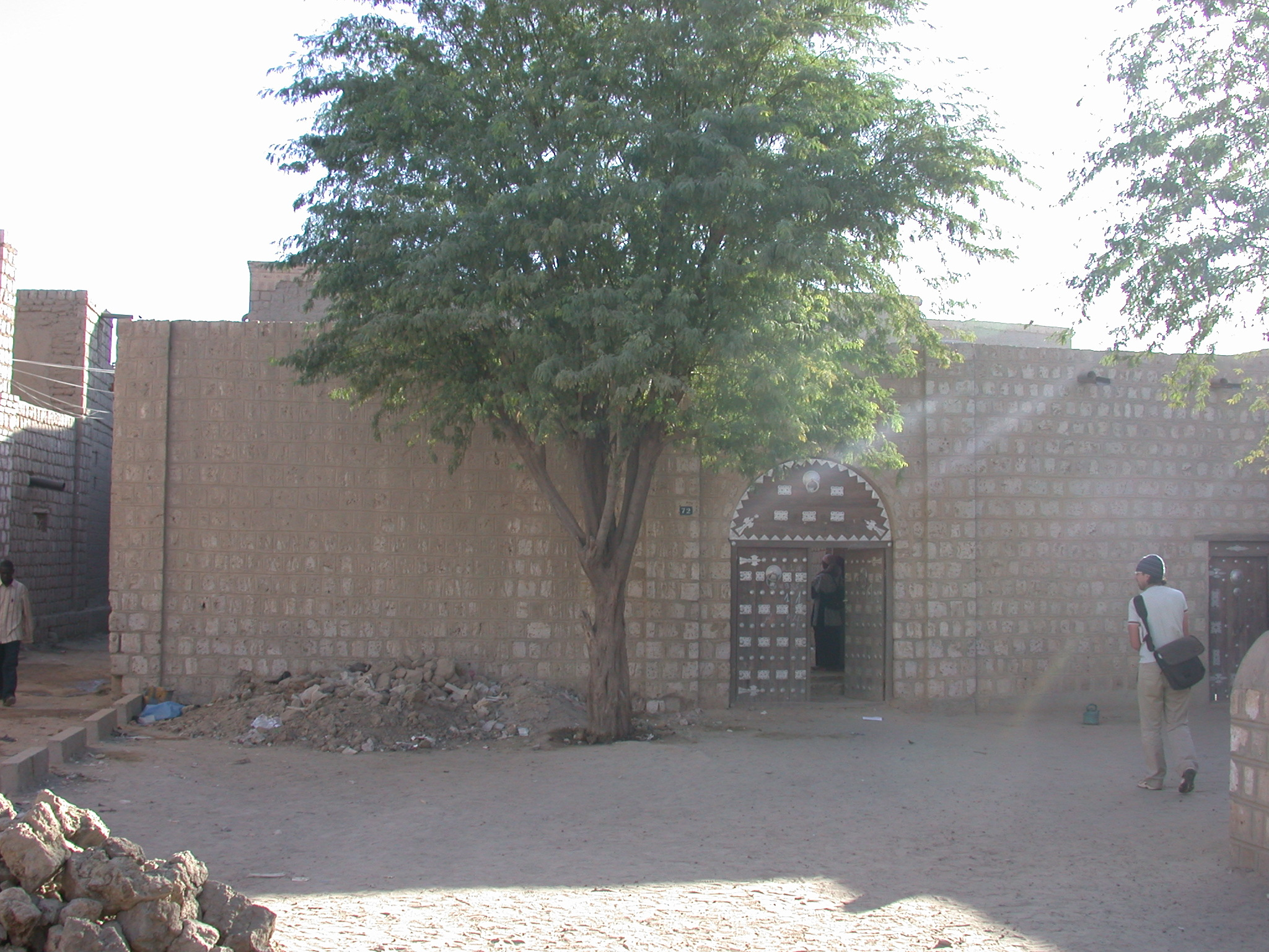 Vincent in Courtyard and School Entrance at Sidi Yahia Mosque, Timbuktu, Mali