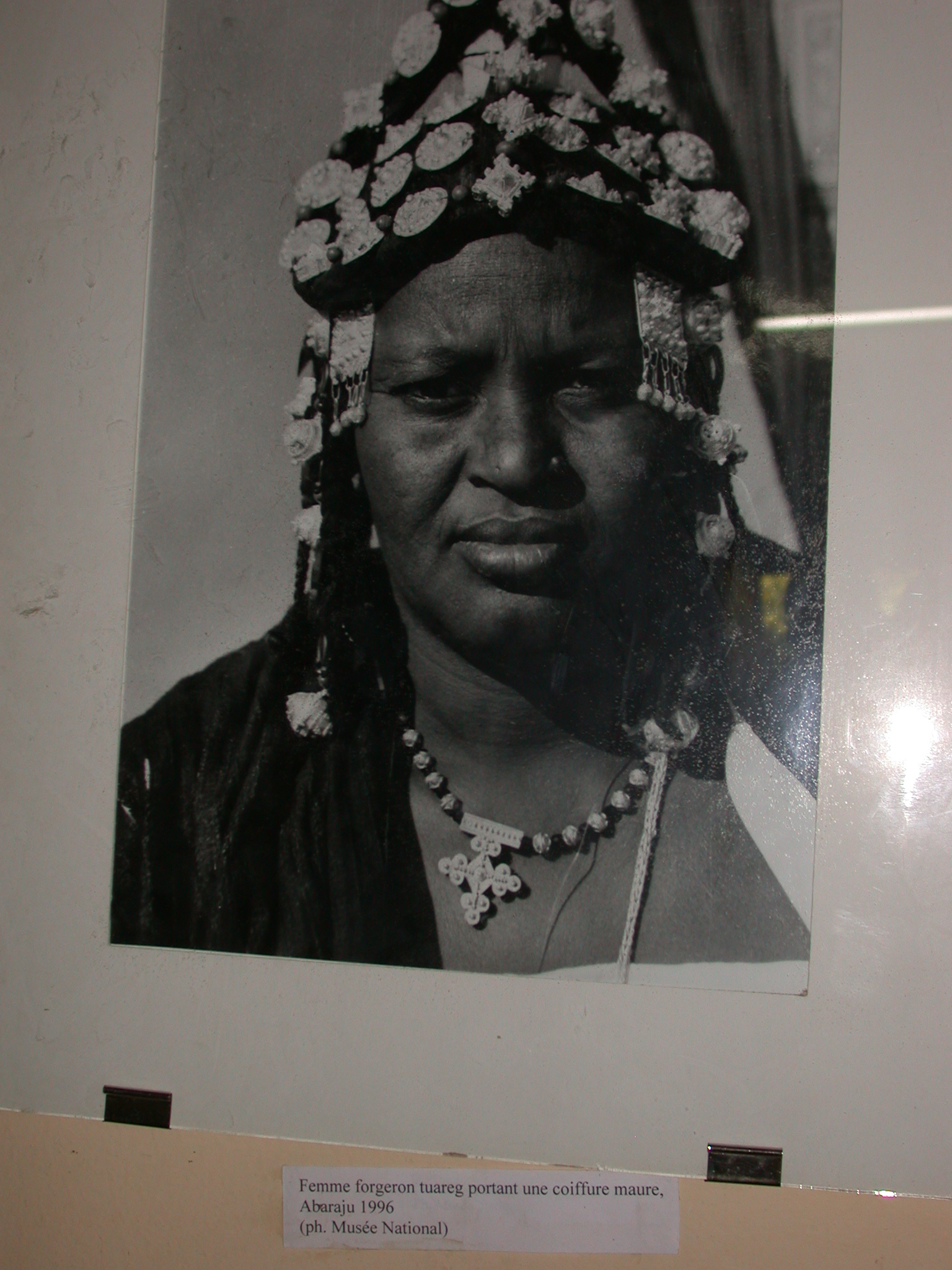 Photo of Tuareg Blacksmith Woman Wearing Moorish Headdress, Abaraju, 1996, Timbuktu Ethnological Museum, Timbuktu, Mali