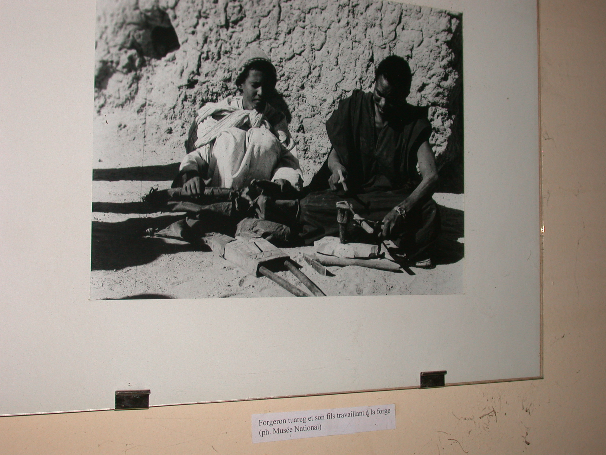 Photo of Tuareg Blacksmith and His Son Working at the Forge, Timbuktu Ethnological Museum, Timbuktu, Mali