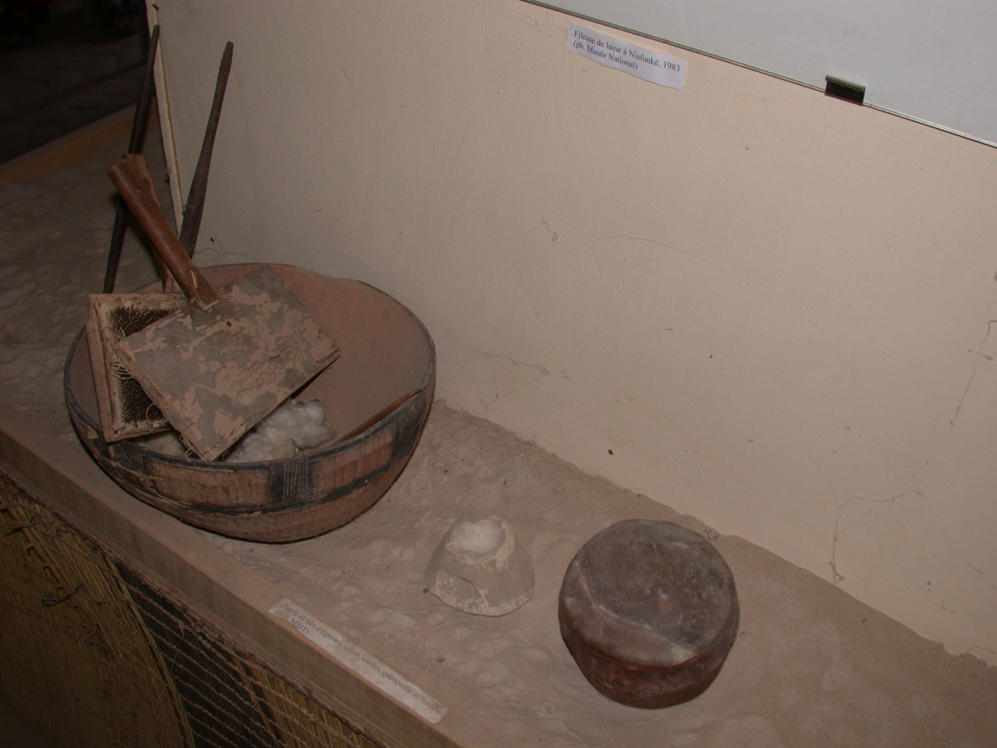 Stone and Irons for Hulling, Cotton, Carding Brushes, Stopper Rod, and Spindle, Timbuktu Ethnological Museum, Timbuktu, Mali