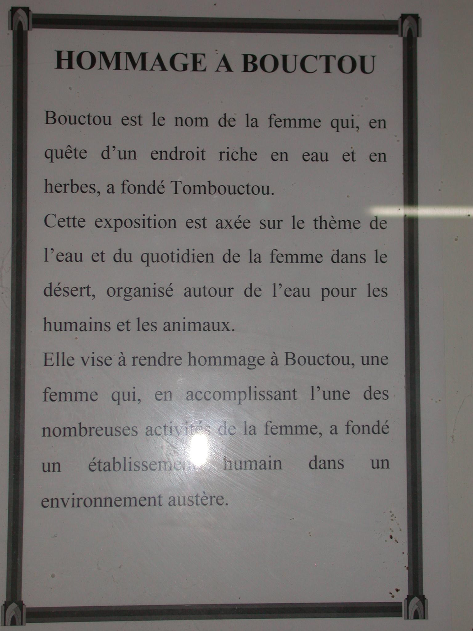 Homage to Buktu, Timbuktu Ethnological Museum, Timbuktu, Mali