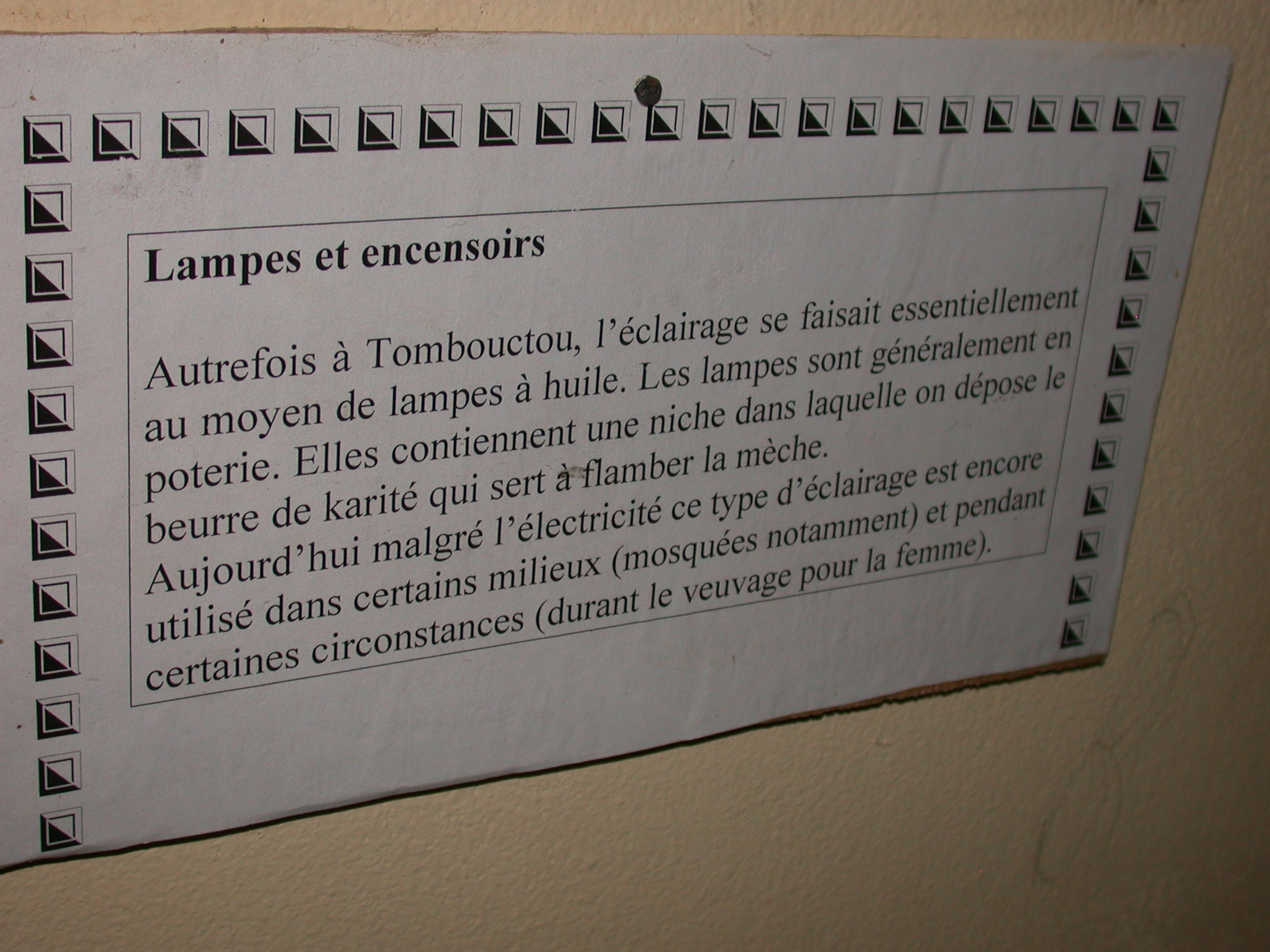 Description of Lamps and Incense Burners, Timbuktu Ethnological Museum, Timbuktu, Mali