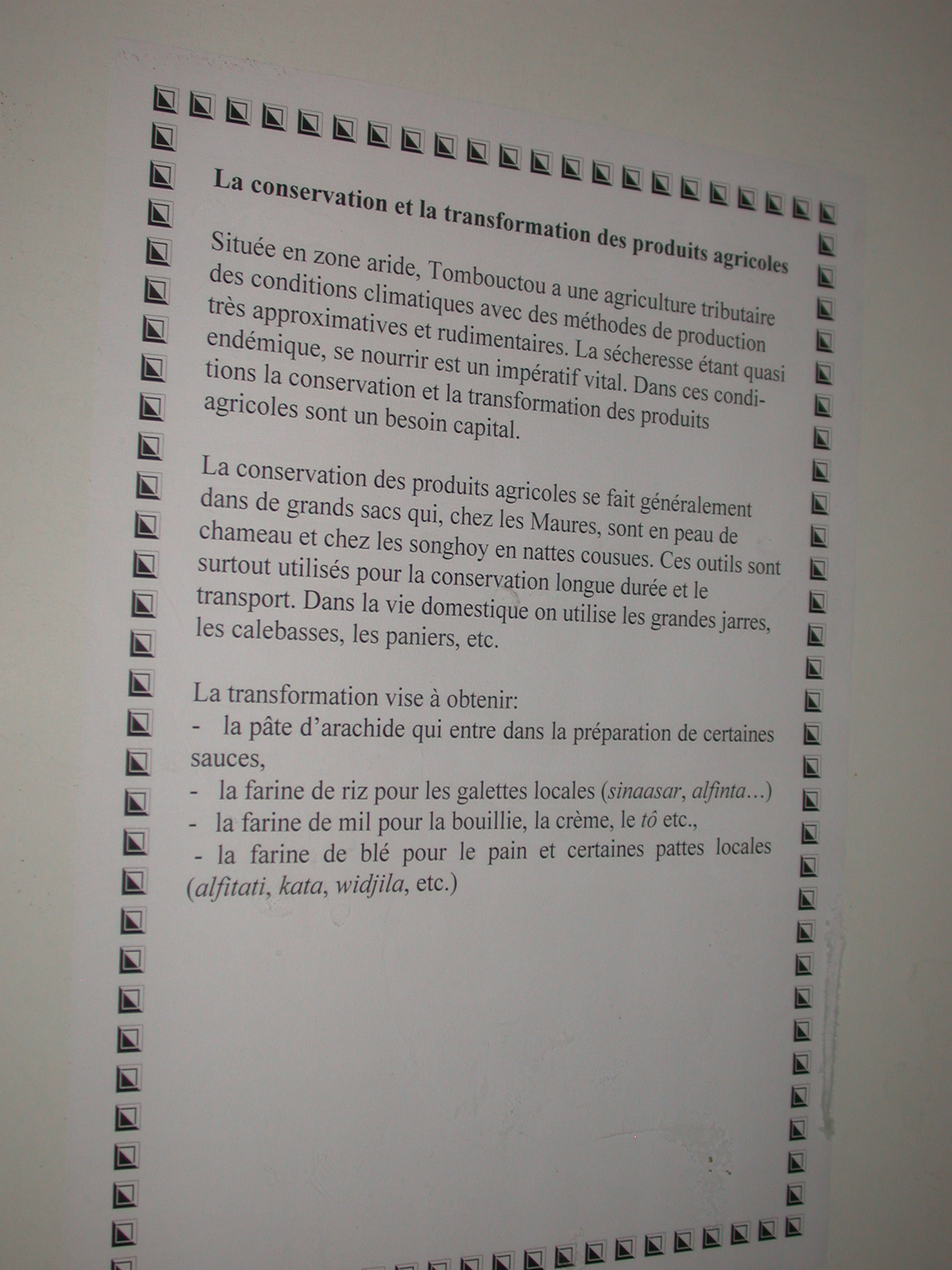 Description of Storage and Transformation of Agricultural Products, Timbuktu Ethnological Museum, Timbuktu, Mali