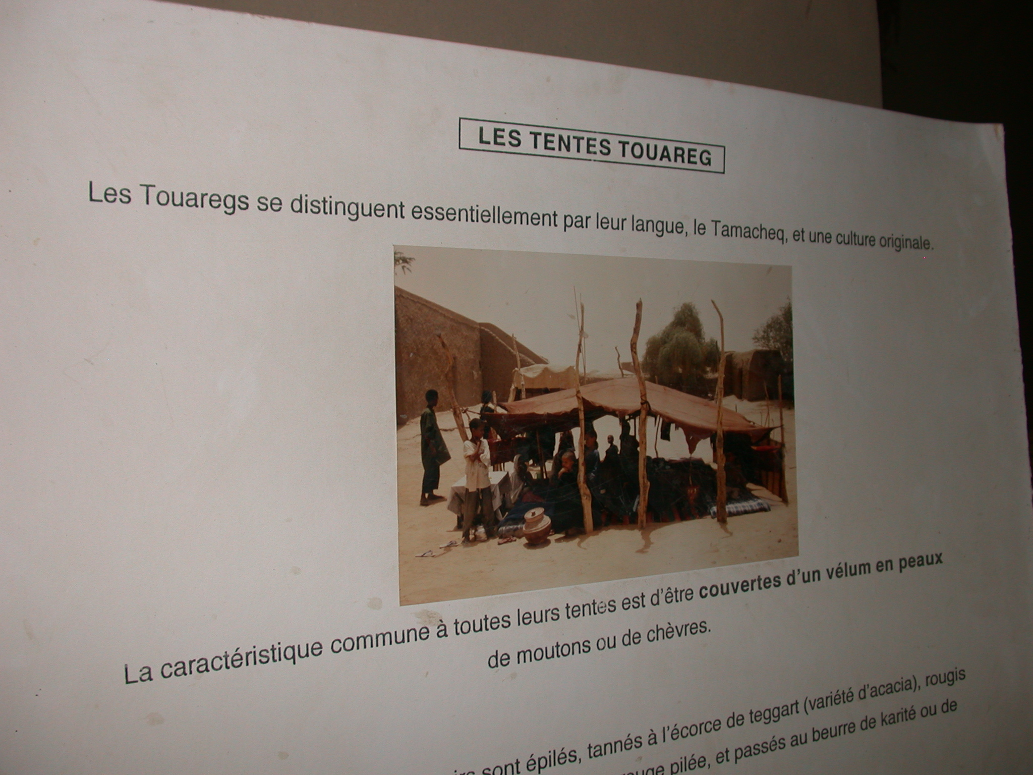 Description of Tuareg Tents, Part I, Timbuktu Ethnological Museum, Timbuktu, Mali