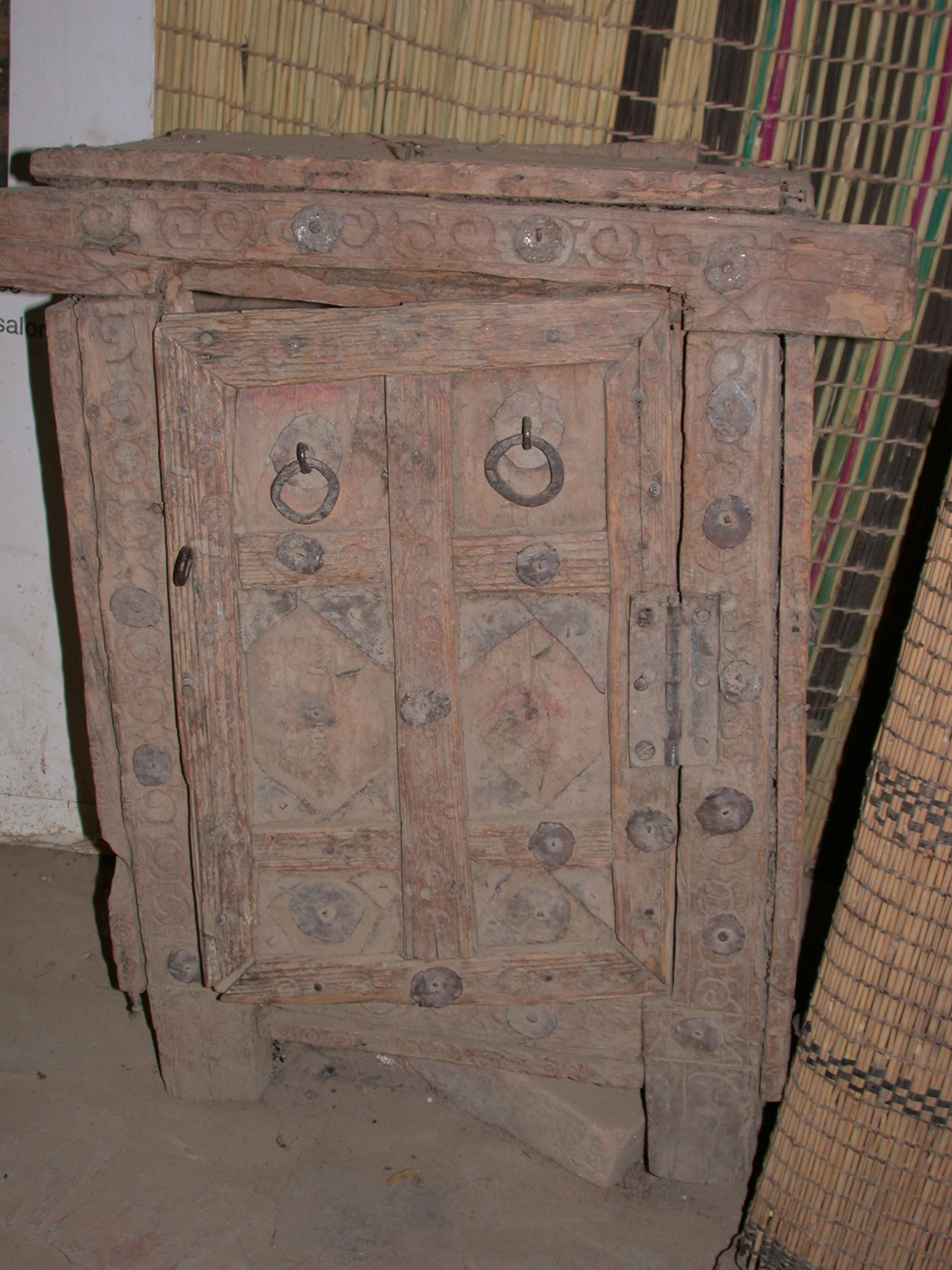 Traditional Decorated Wooden Cabinet and Door, Timbuktu Ethnological Museum, Timbuktu, Mali